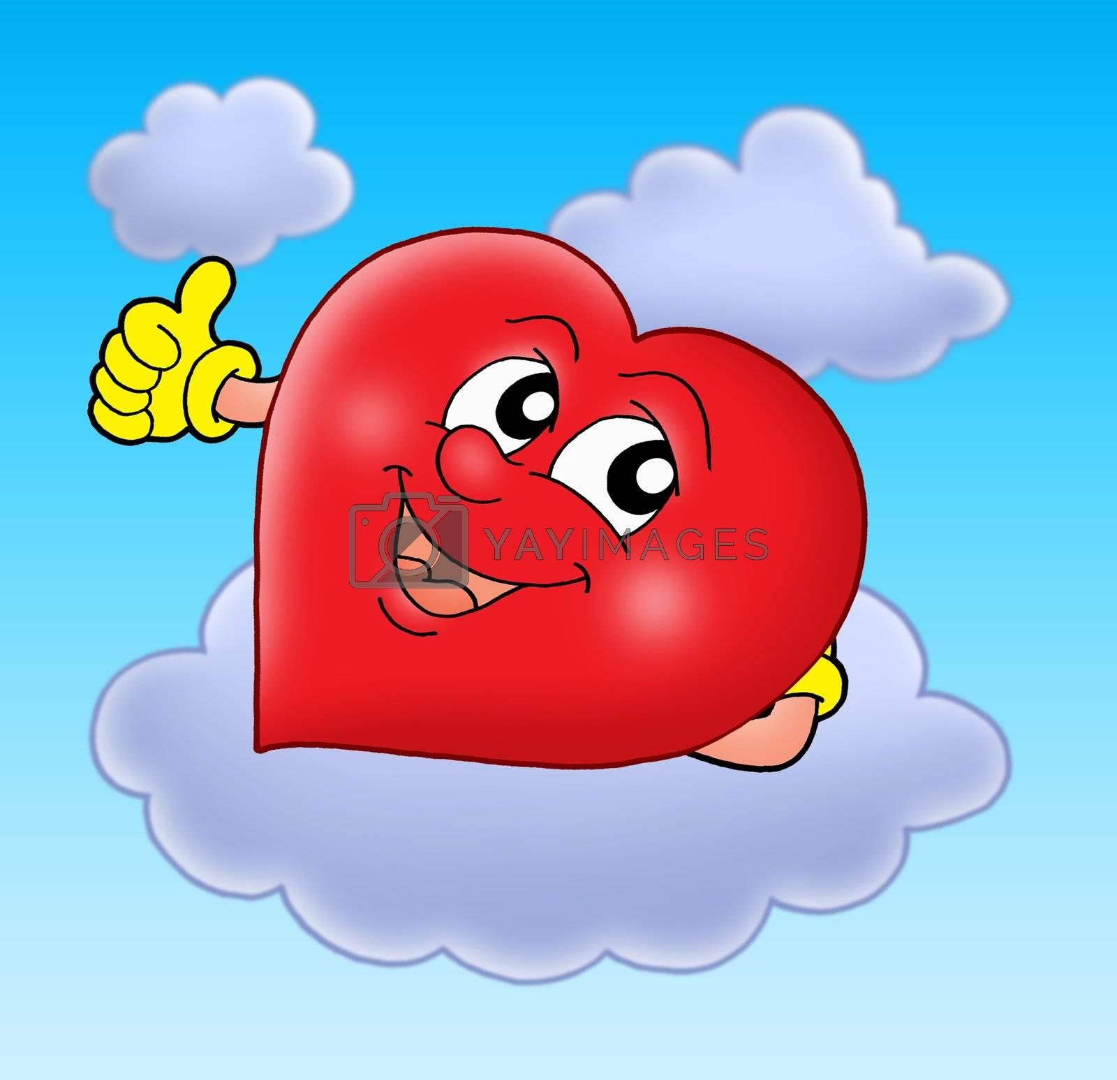 Smiling heart on cloud - color illustration.