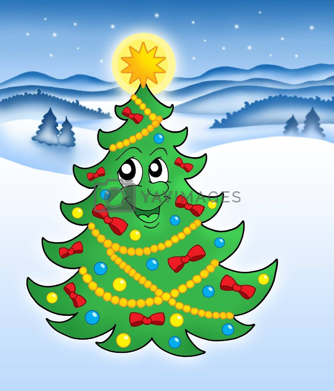 Cute Christmas tree in snowy landscape - color illustration.