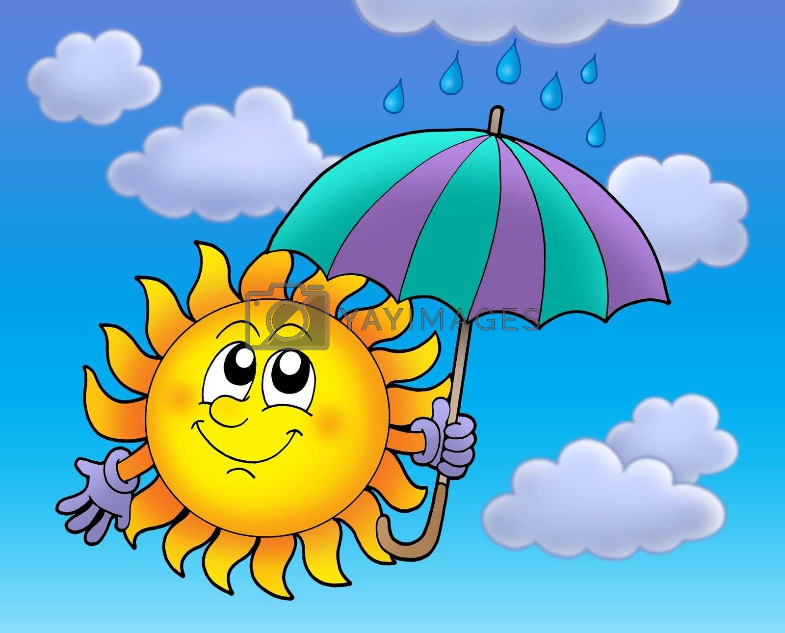 Sun with umbrella on cloudy sky - color illustration.