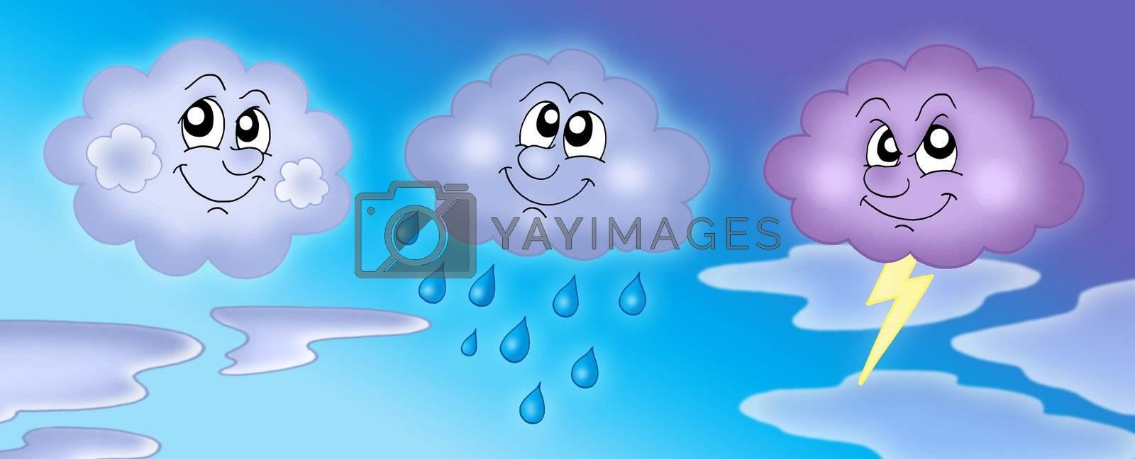 Various clouds on blue sky - color illustration.