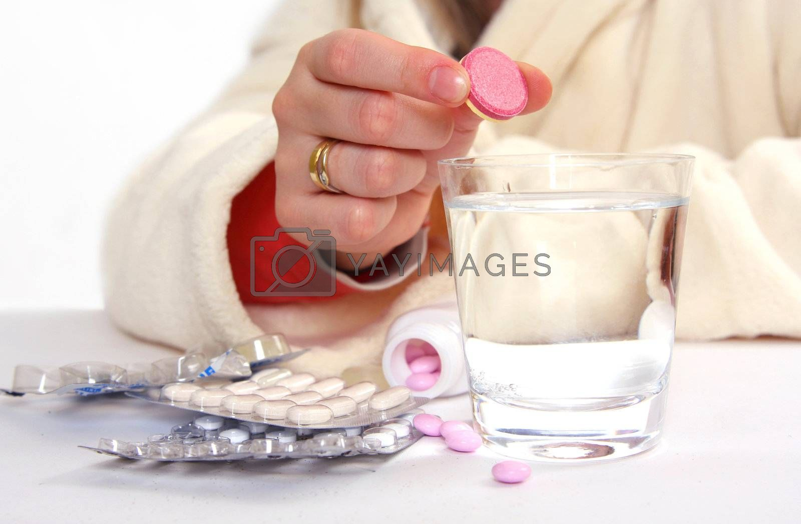 ill woman and pills