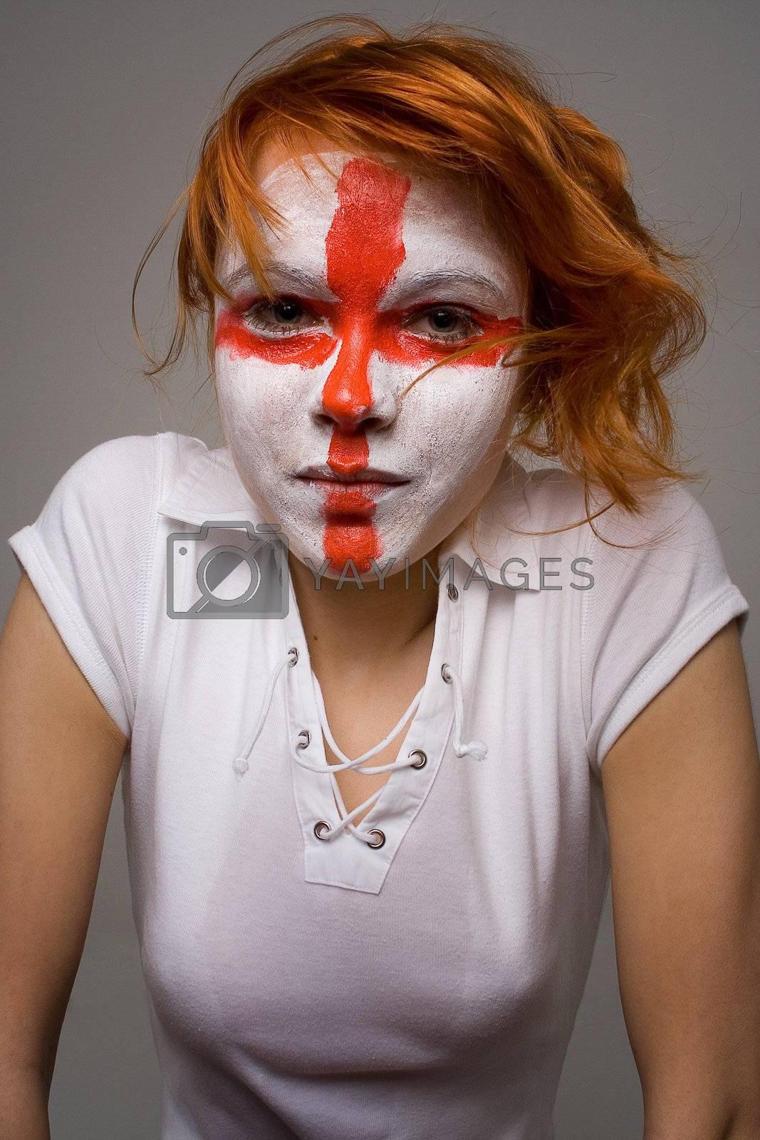 English football makeup girl