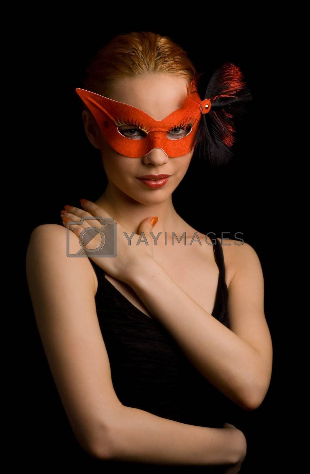mysterious lady in red mask