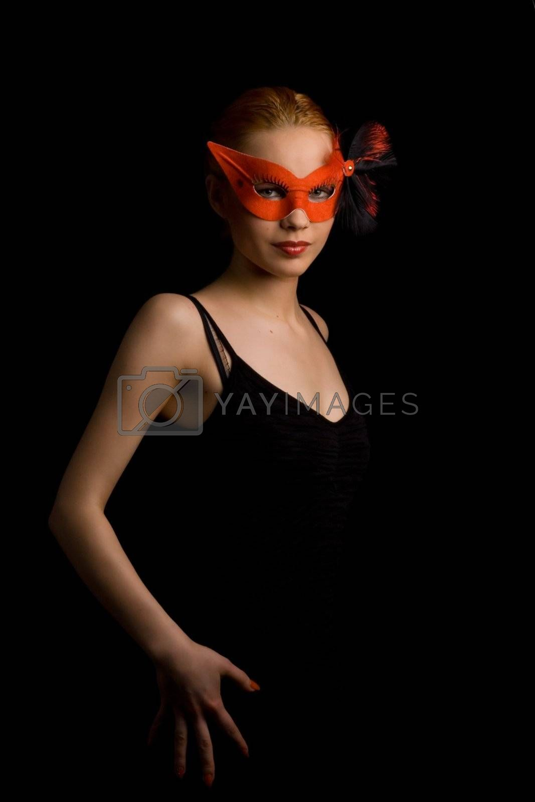 lady in red carnival mask inviting to dance