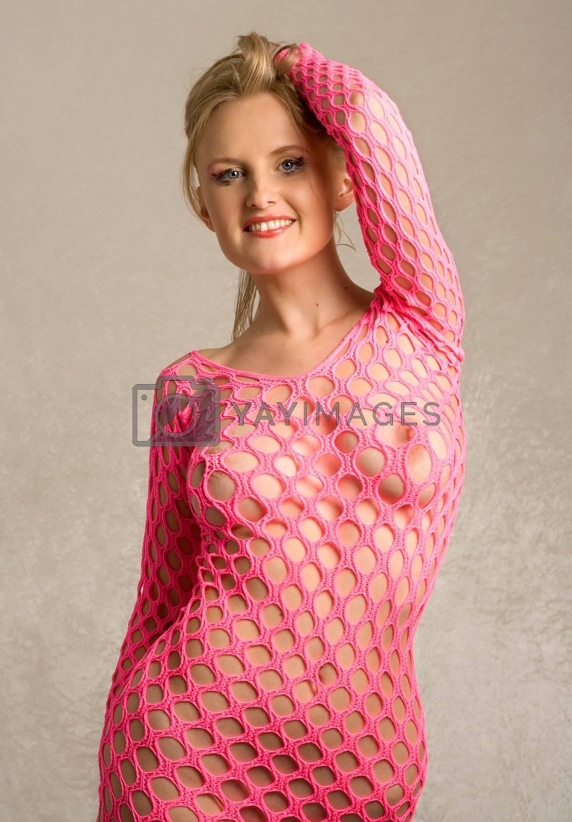 pretty lady in rose fishnet dress