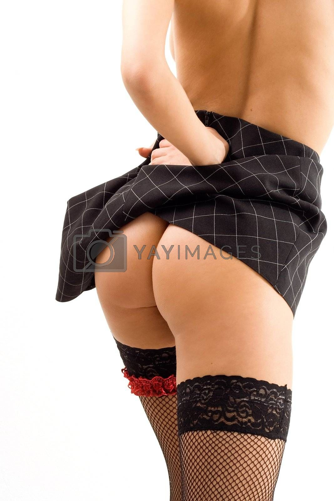 pretty girl in skirt and stockings