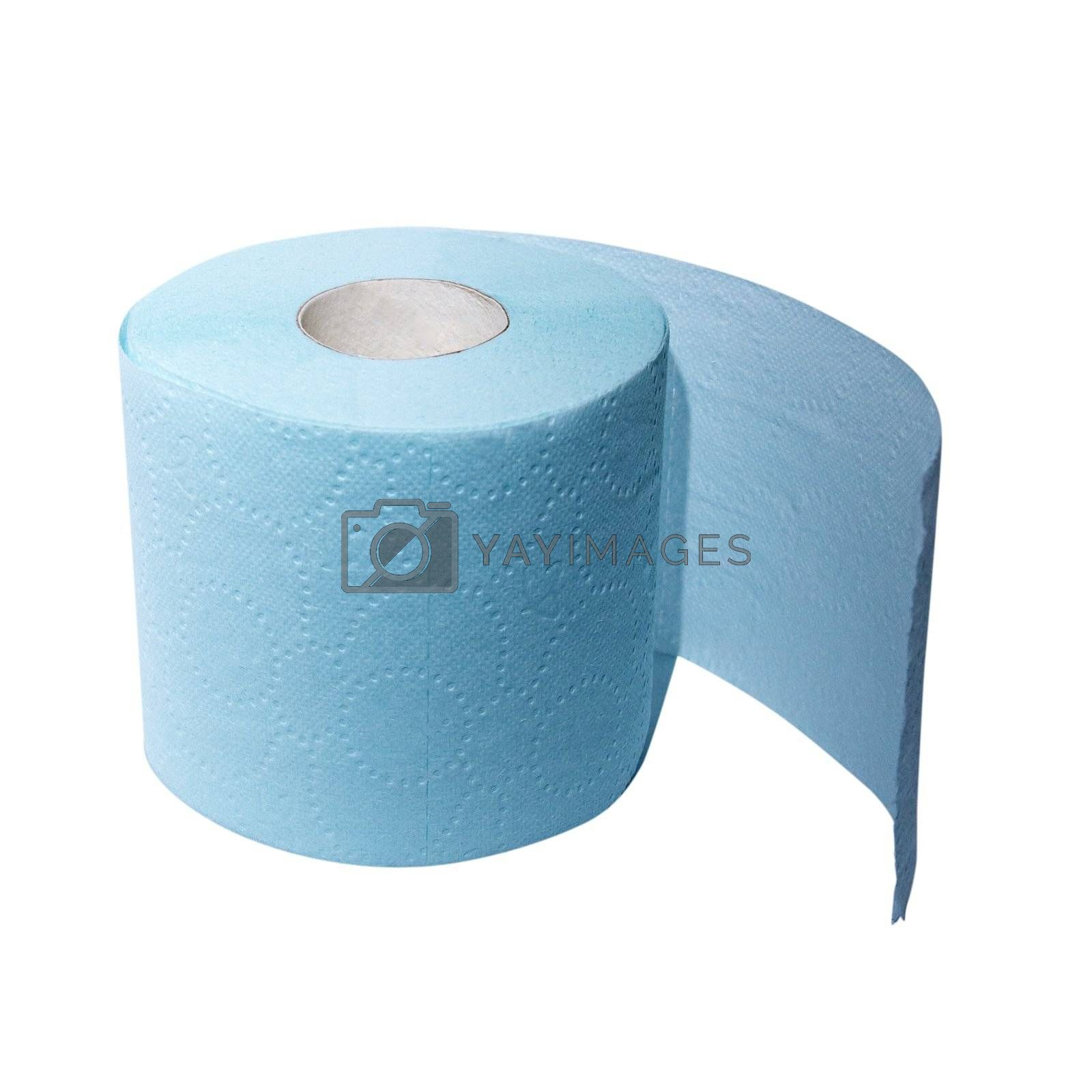 Roll of blue toilet paper isolated over white
