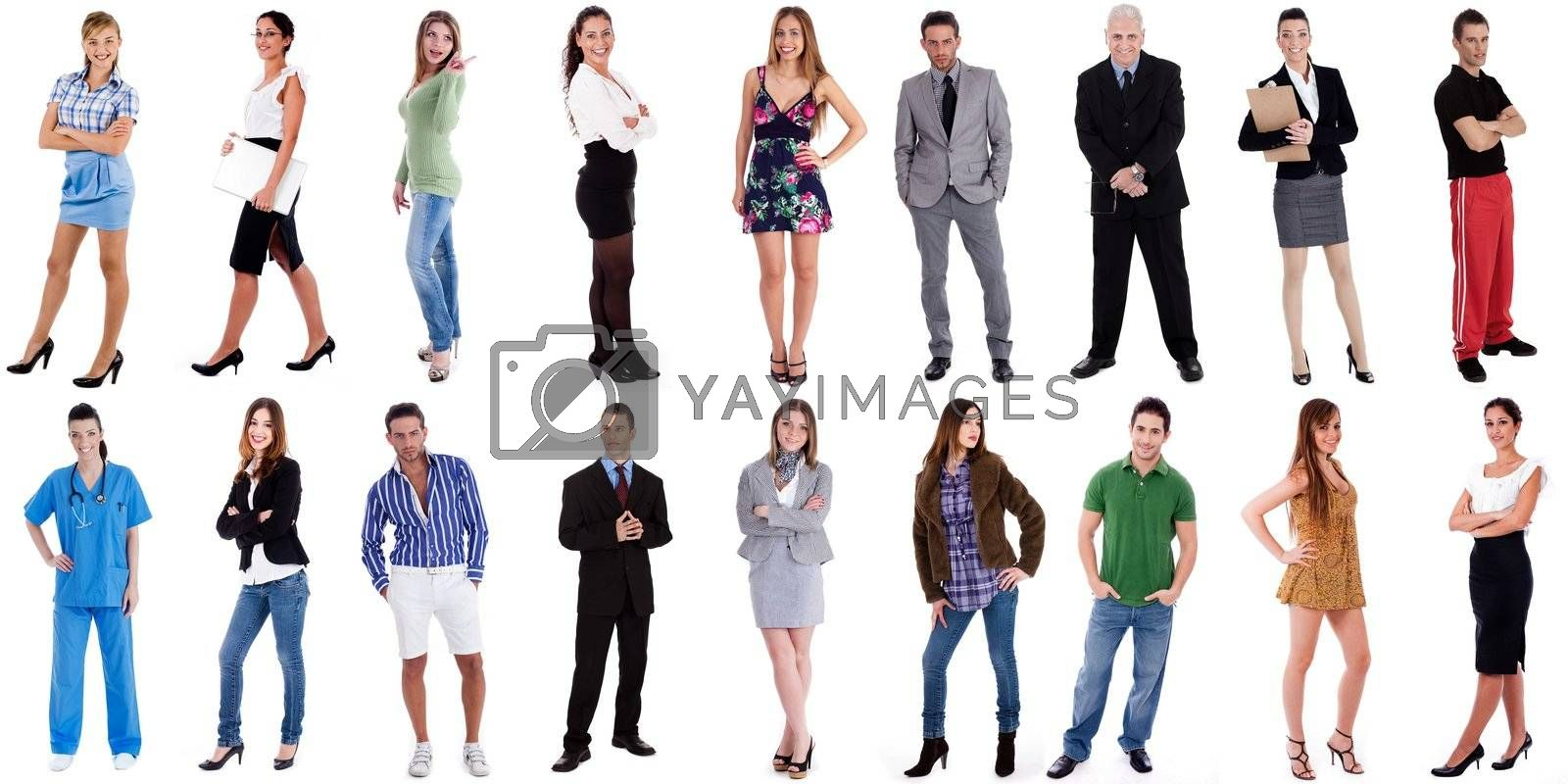 Business groups and different people in a line concept against white background