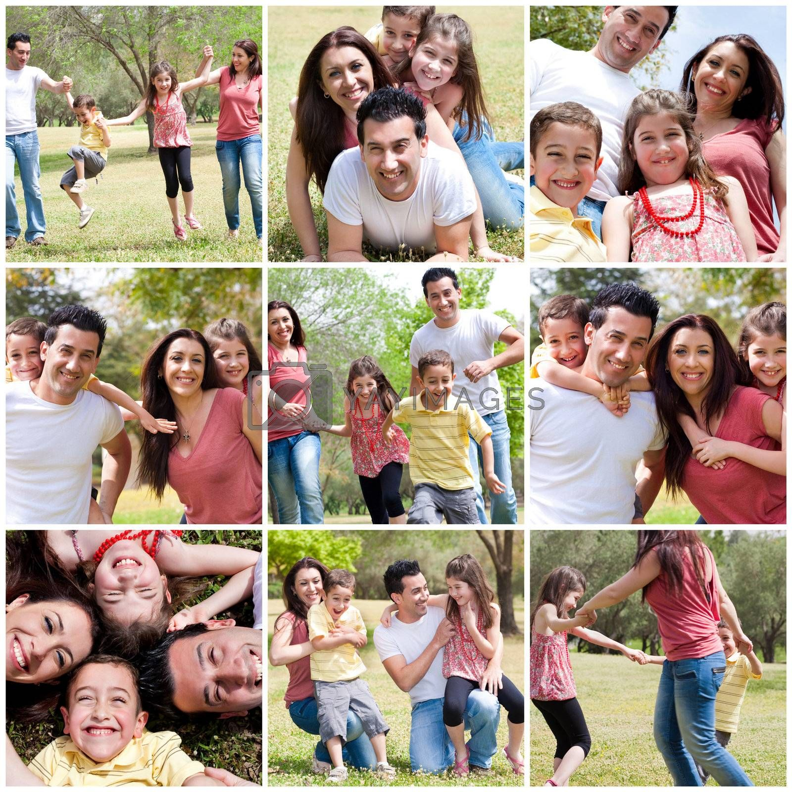 Happy family enjoying in the park,outdoor