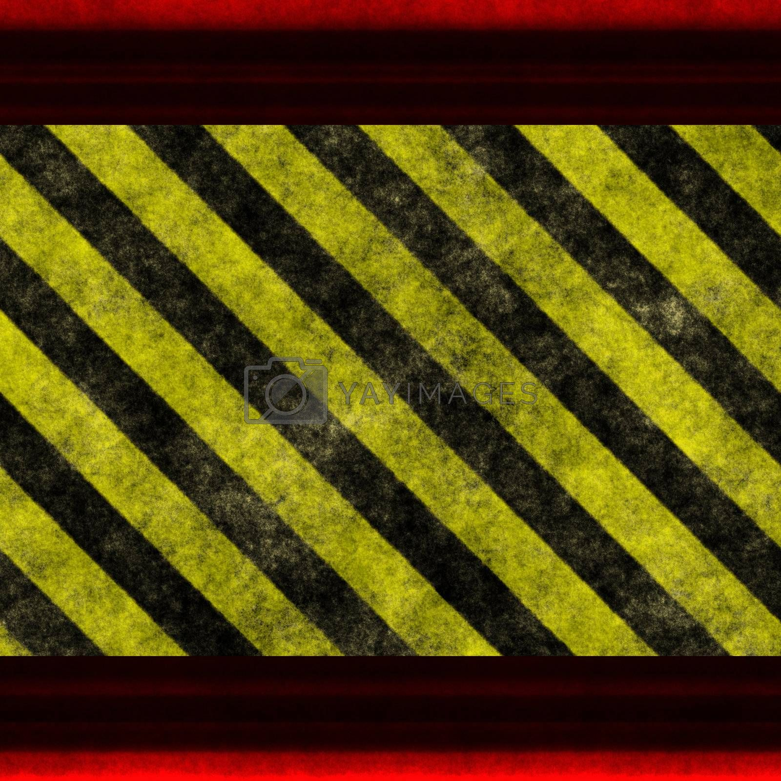 Black and yellow warning / hazard background with red frame