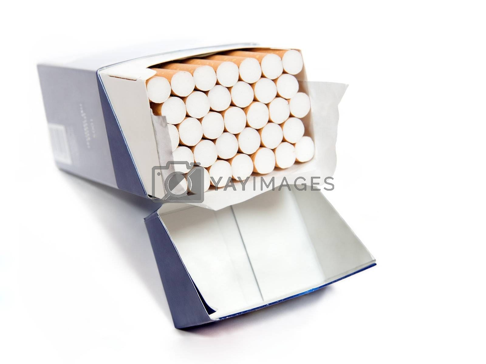 Big pack of cigarettes isolated on white background