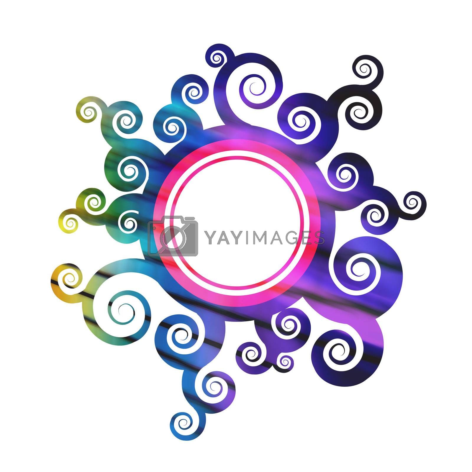 A rainbow colored floral foliage frame with a circular center.