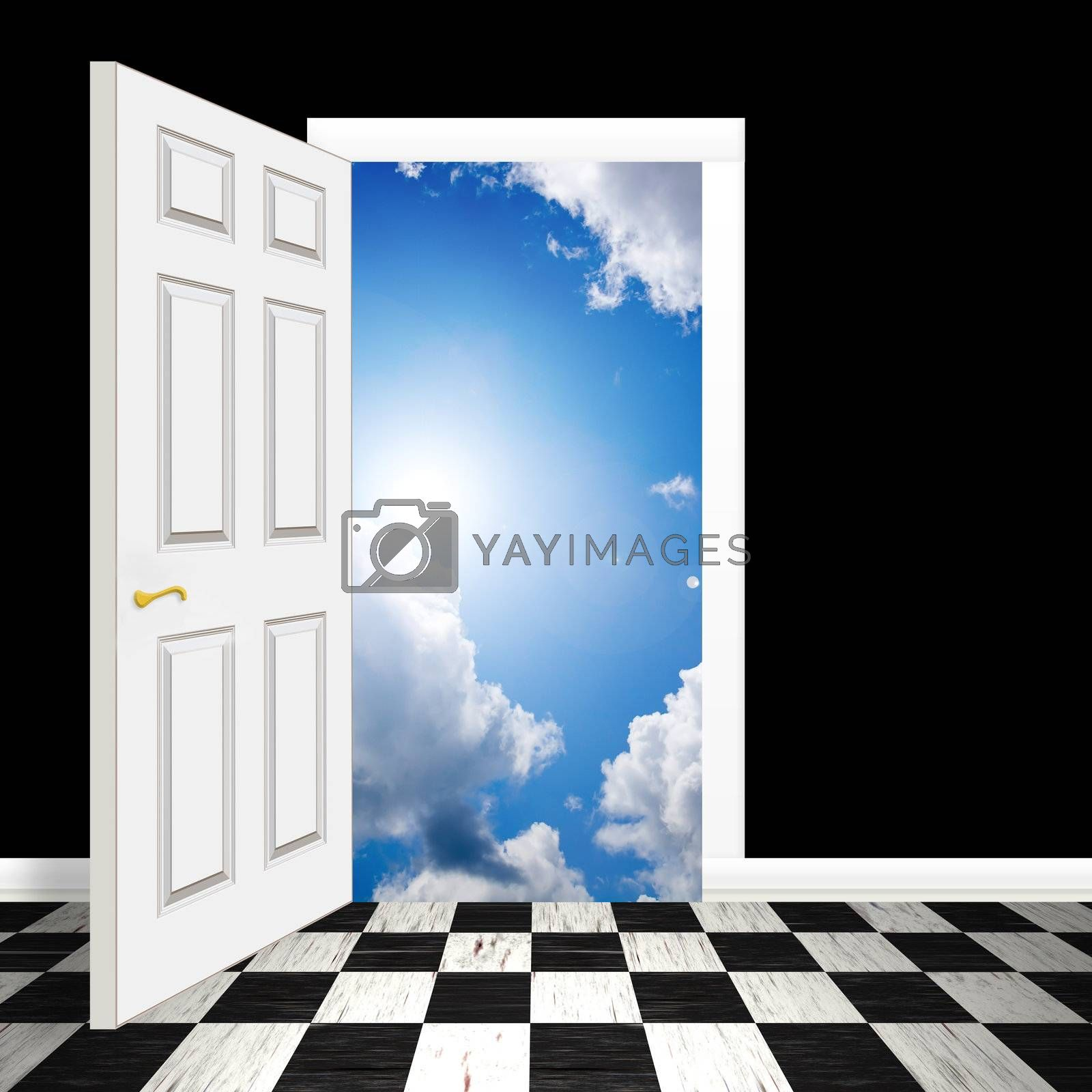 An opened door or entrance leading to a blue sky with fluffy clouds.