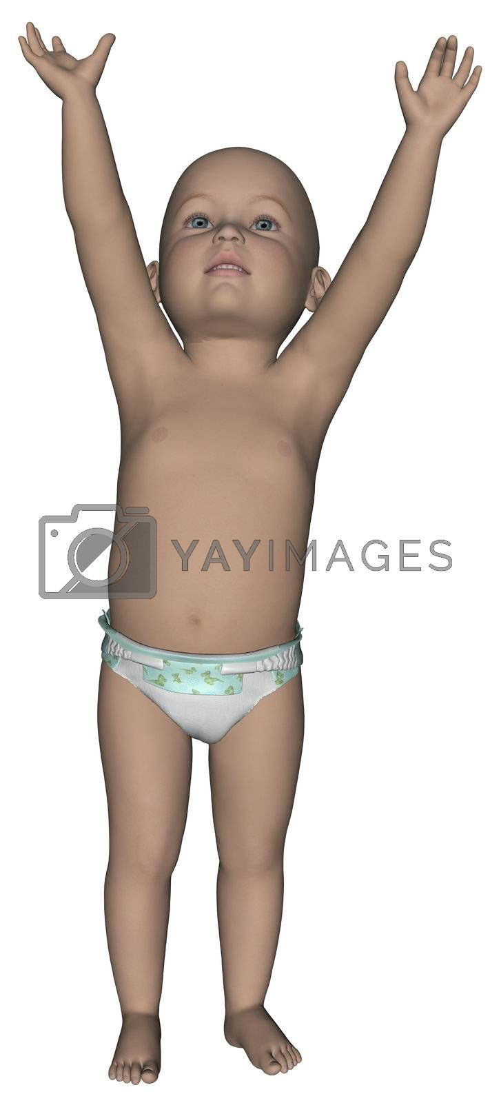 3D rendered little toddler on white background isolated