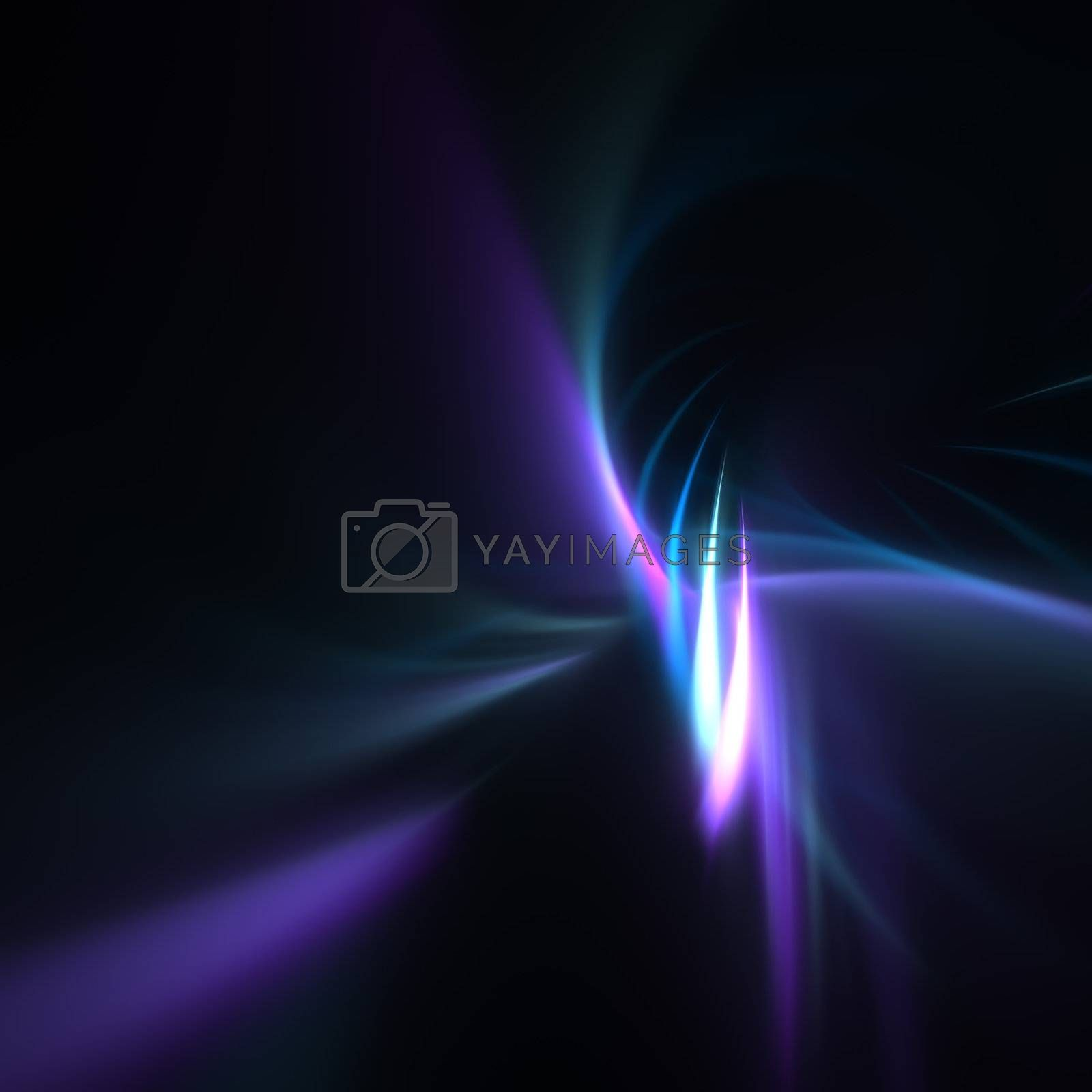A blue fractal backdrop with abstract lines of plasma twisting or being braided together.