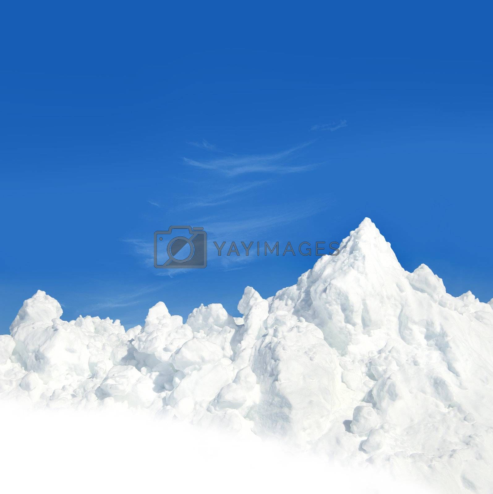 Mountain of snow after a snow storm