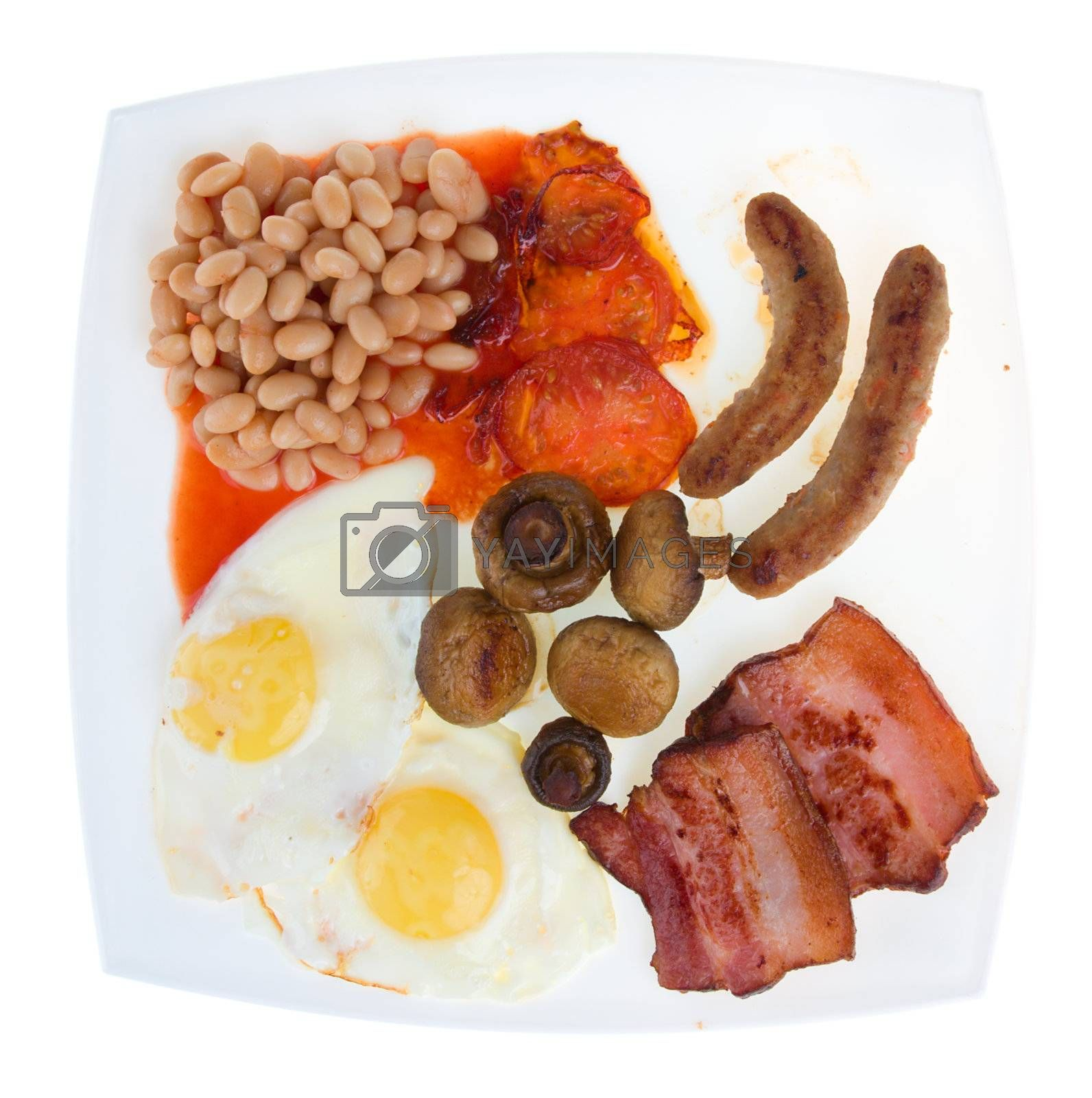 close-up traditional english breakfast, isolated on white