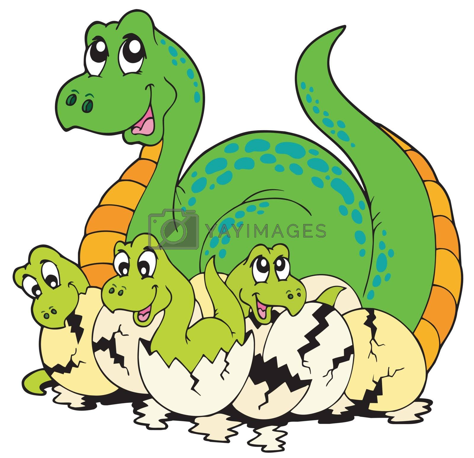 Dinosaur mom with cute babies - vector illustration.