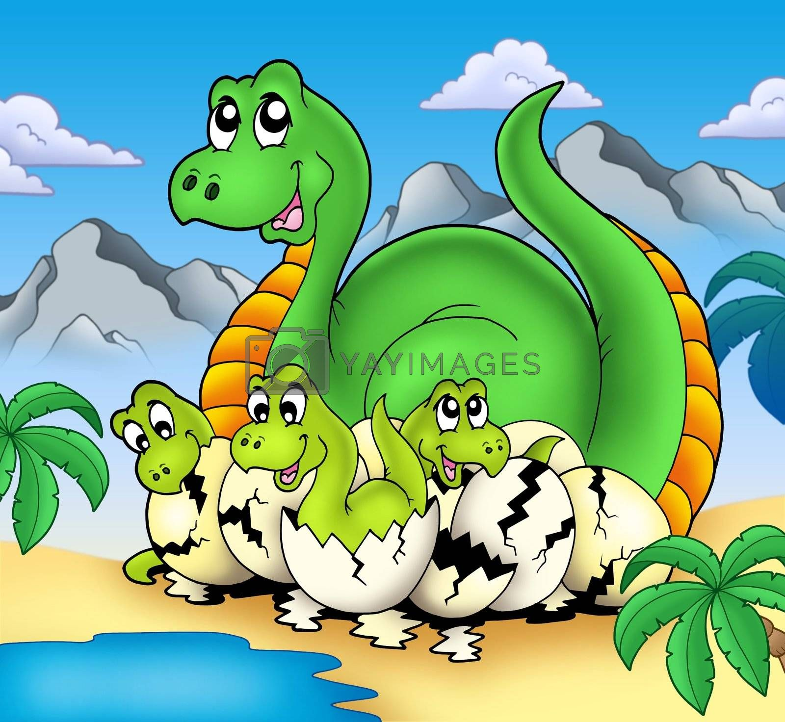 Royalty free image of Dinosaur mom with little babies by clairev