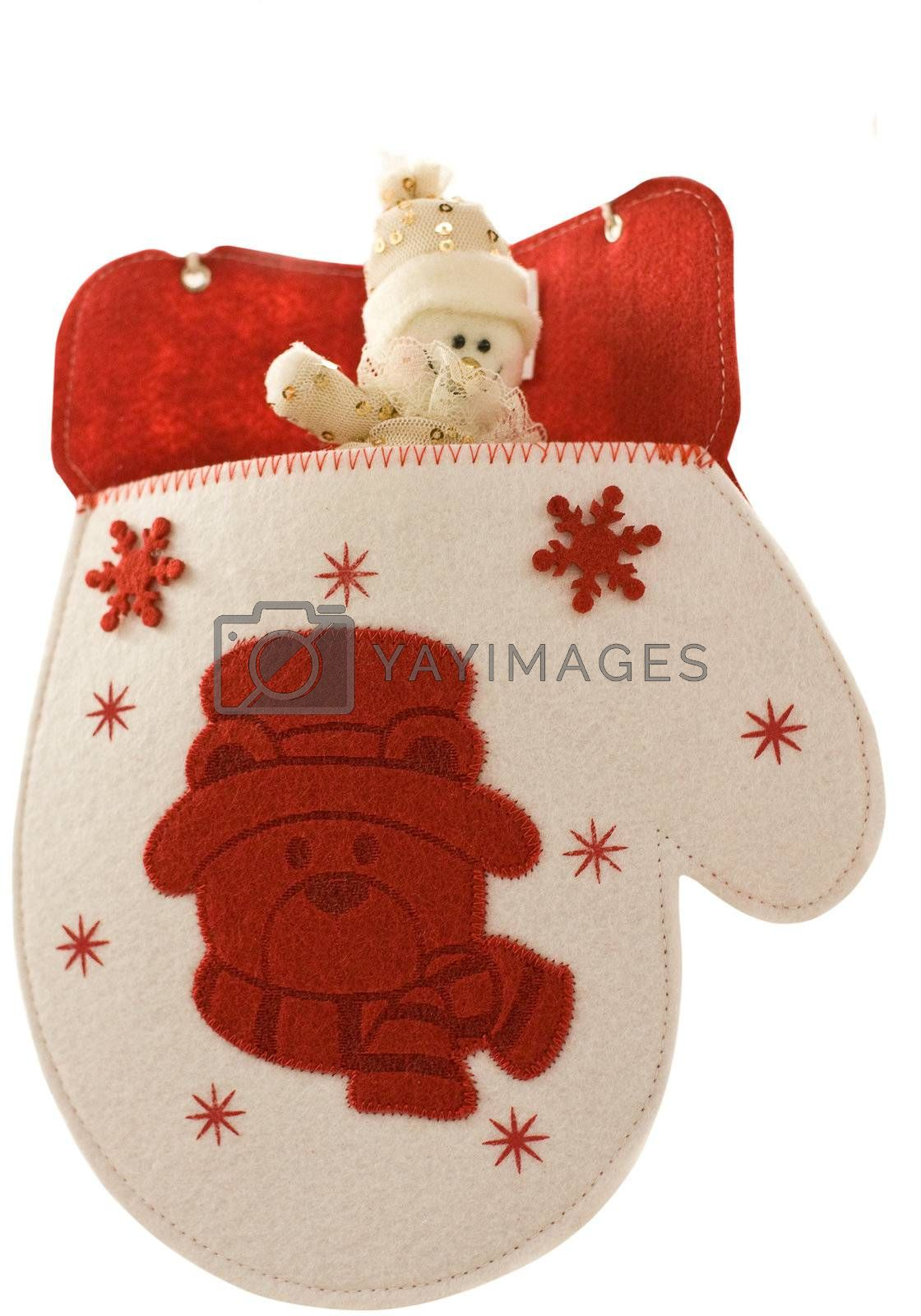 Christmas mitten with little toy snowman
