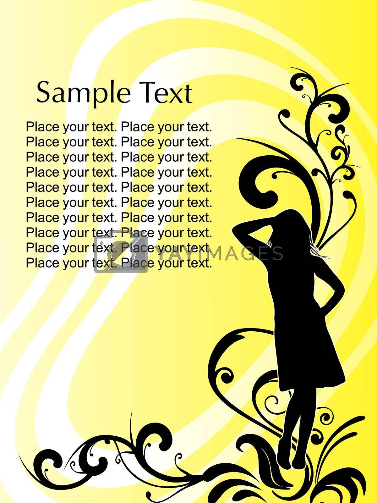 woman's silhouette on floral background vector illustration by aispl