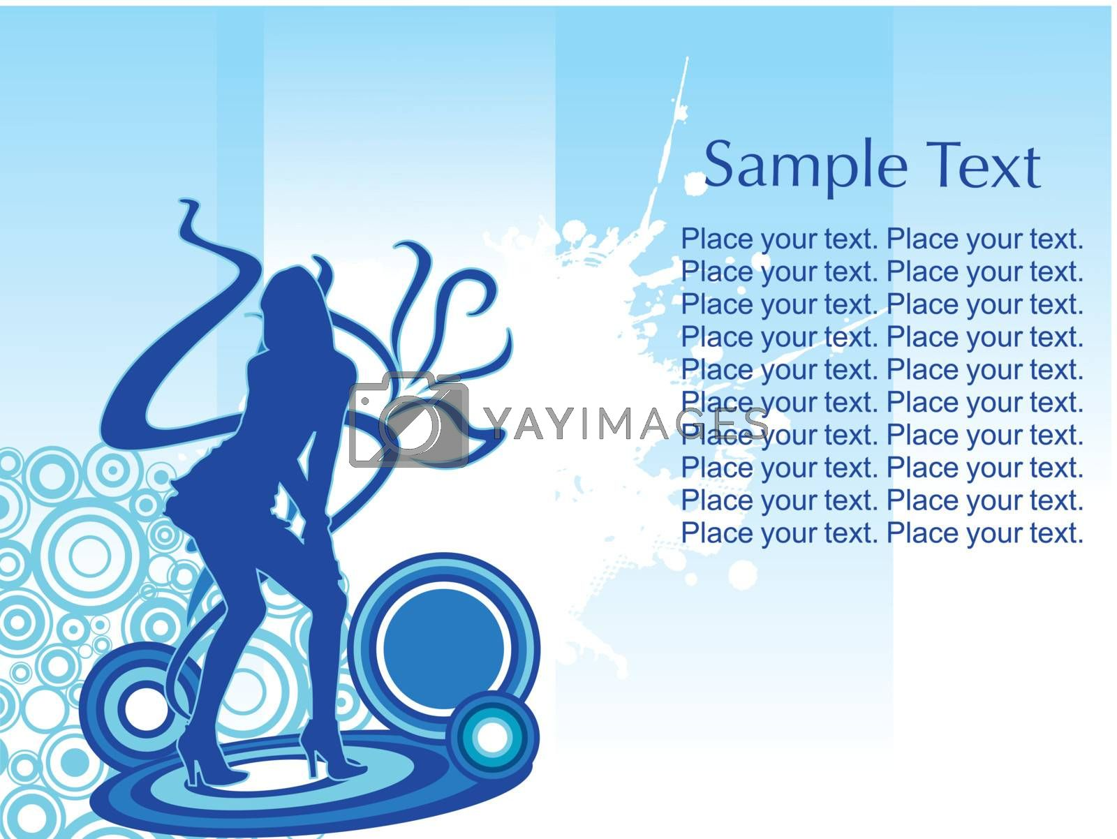 young woman's silhouette on abstract background with floral elements, Vector wallpaper