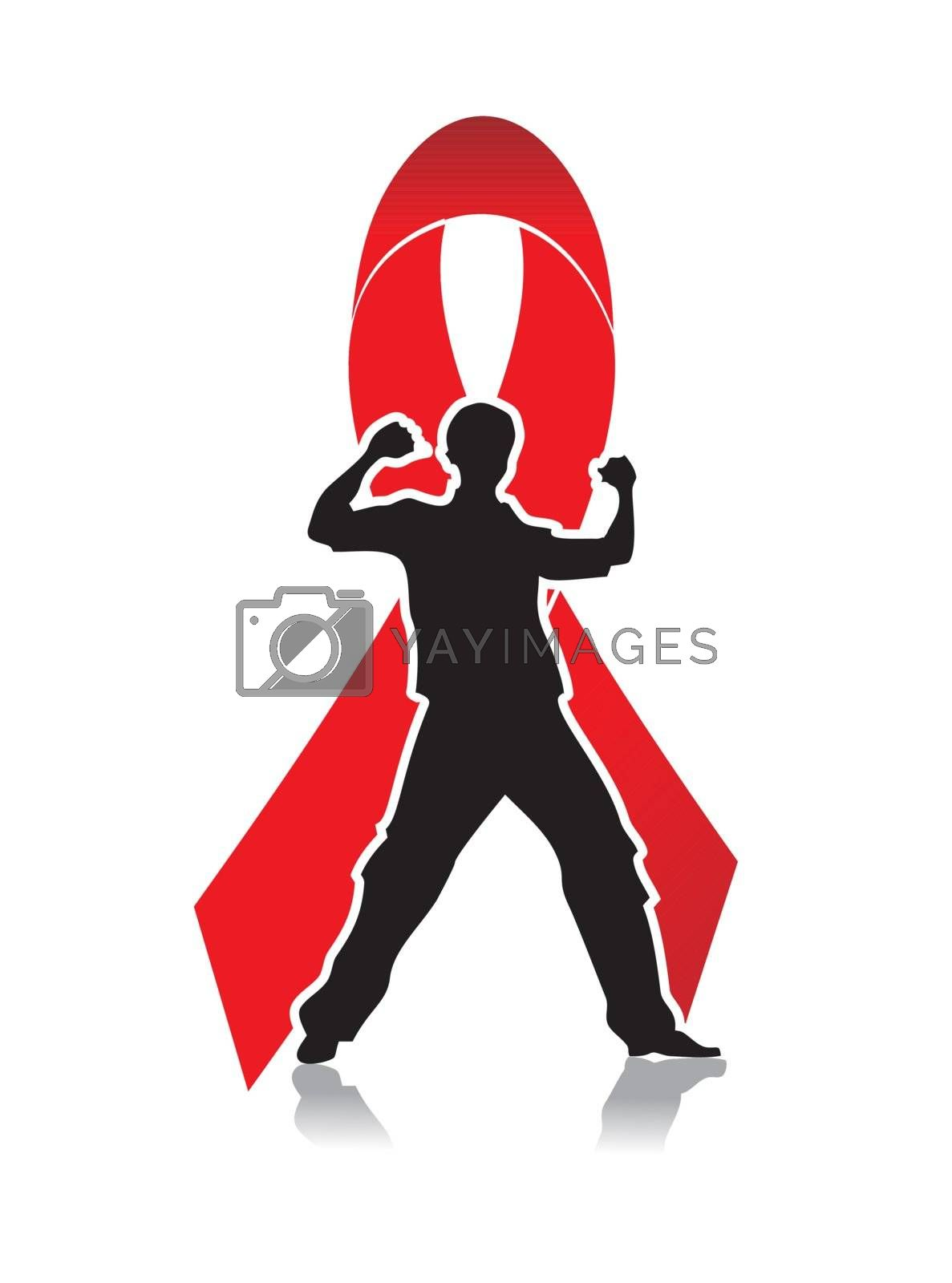aids awareness red ribbon with black male silhouette