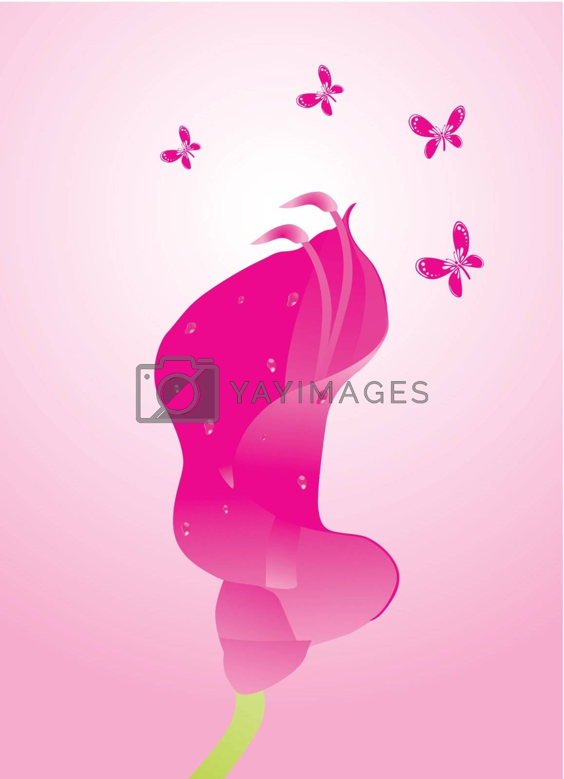beautifull background with flower and butterfly design6
