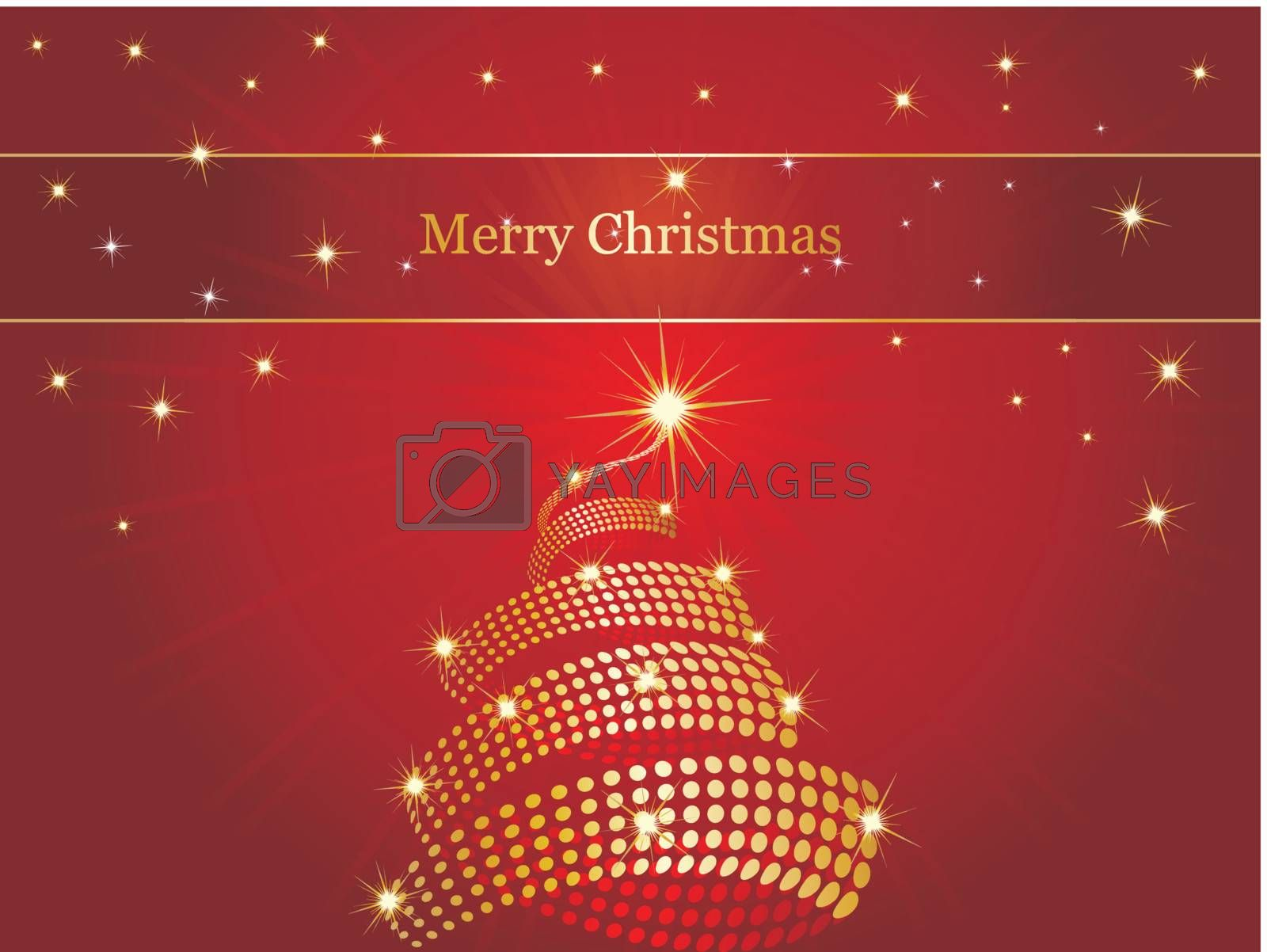 christmas background with tree and stars, wallpaper