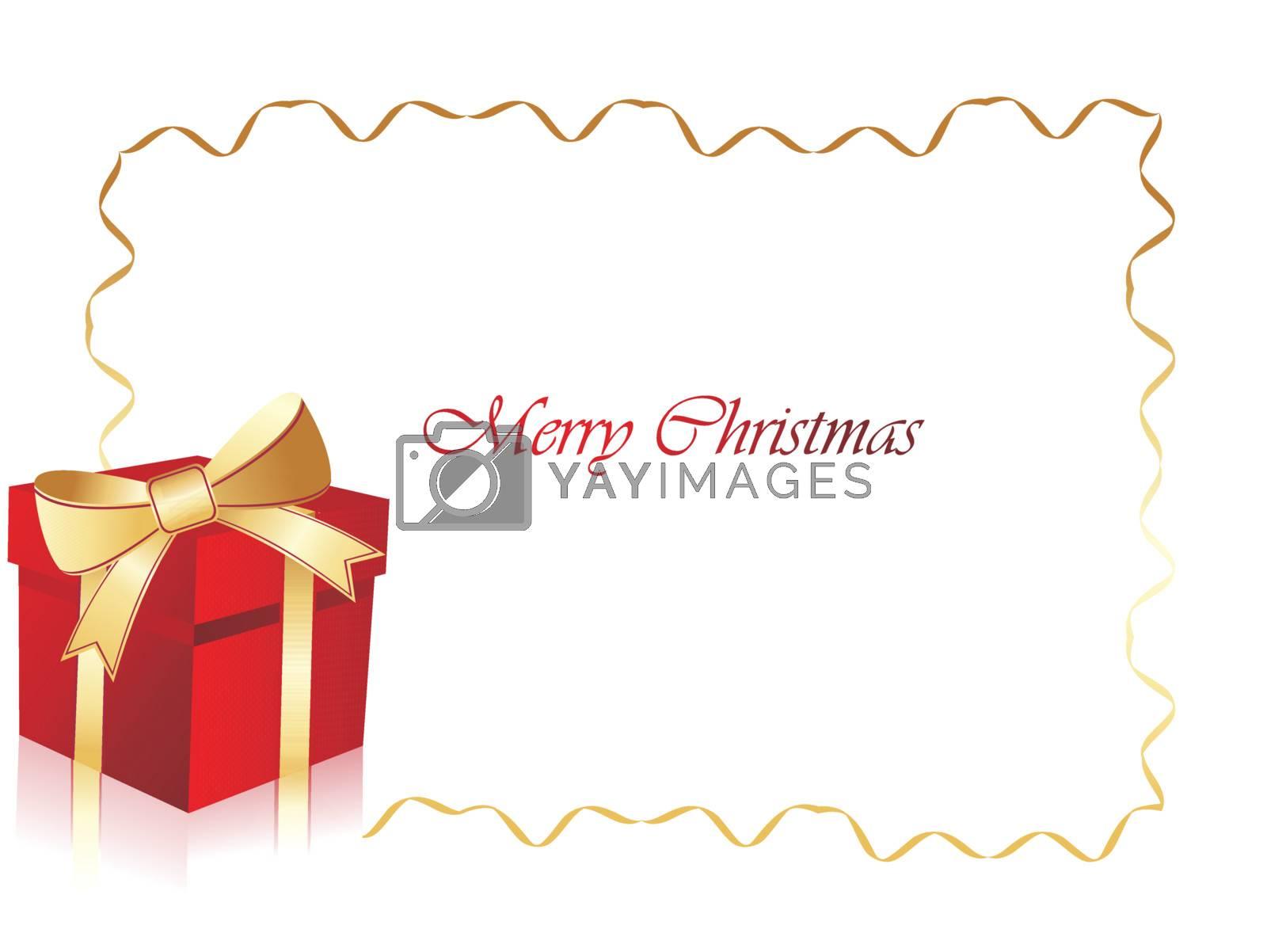 christmas birthday gift box frame, illustration by aispl