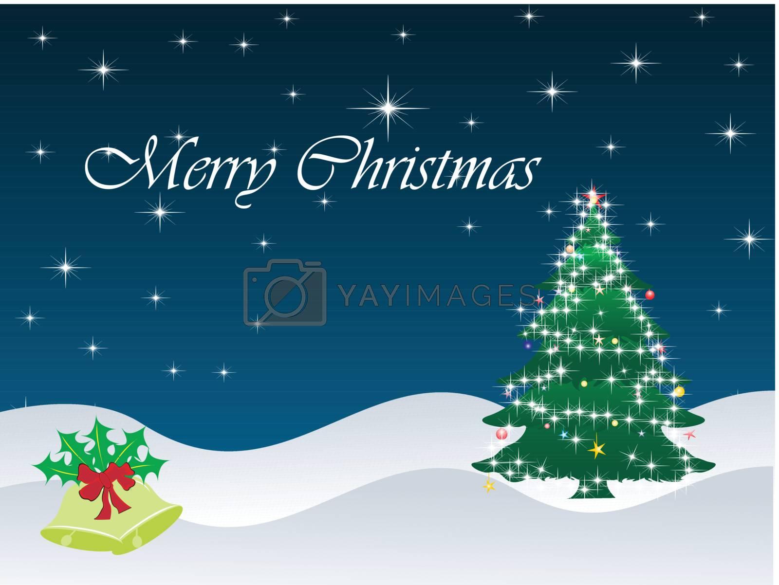 christmas snowflake, bell, tree element for design, vector illustration