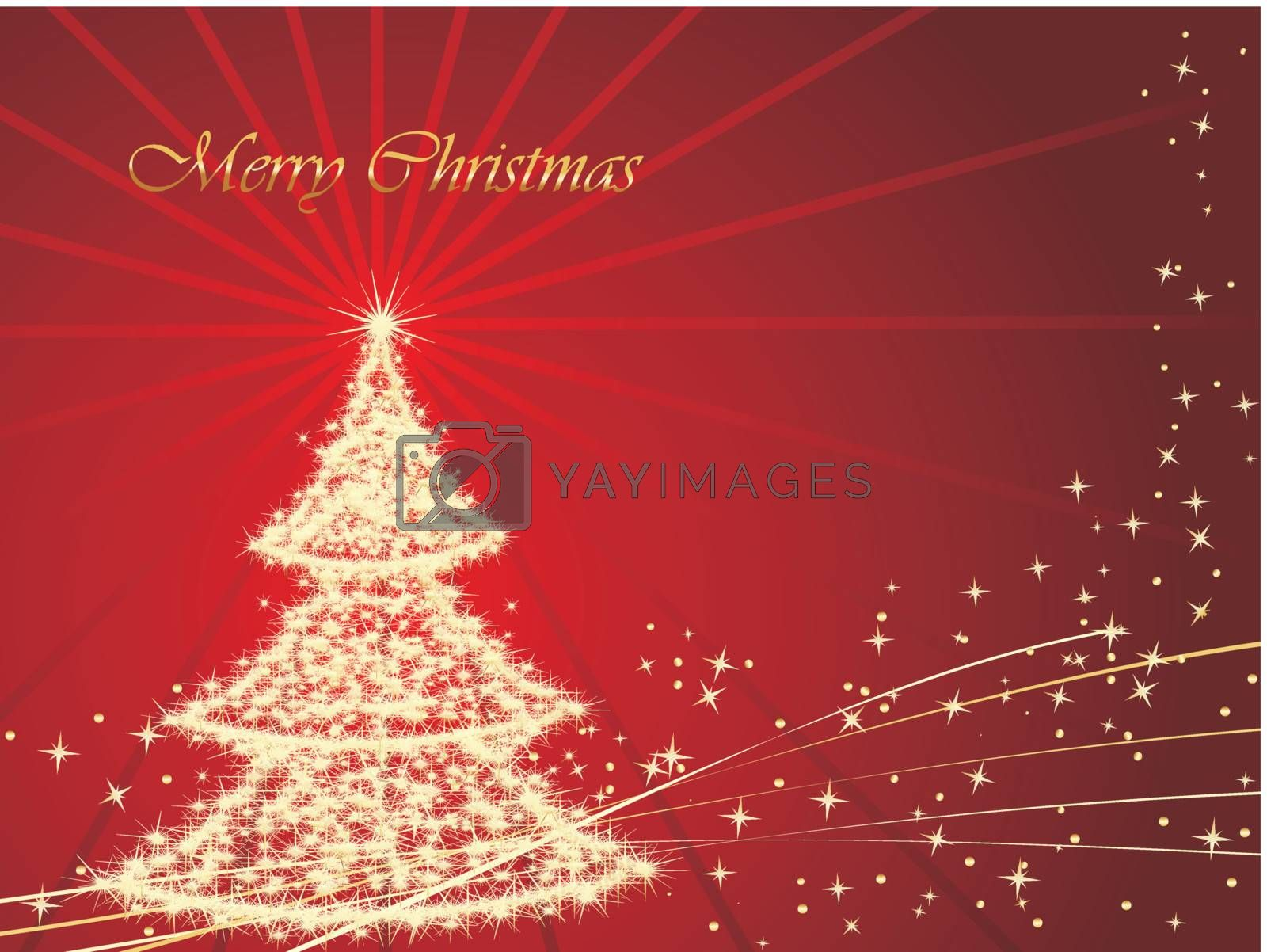 christmas stars background with tree, illustration