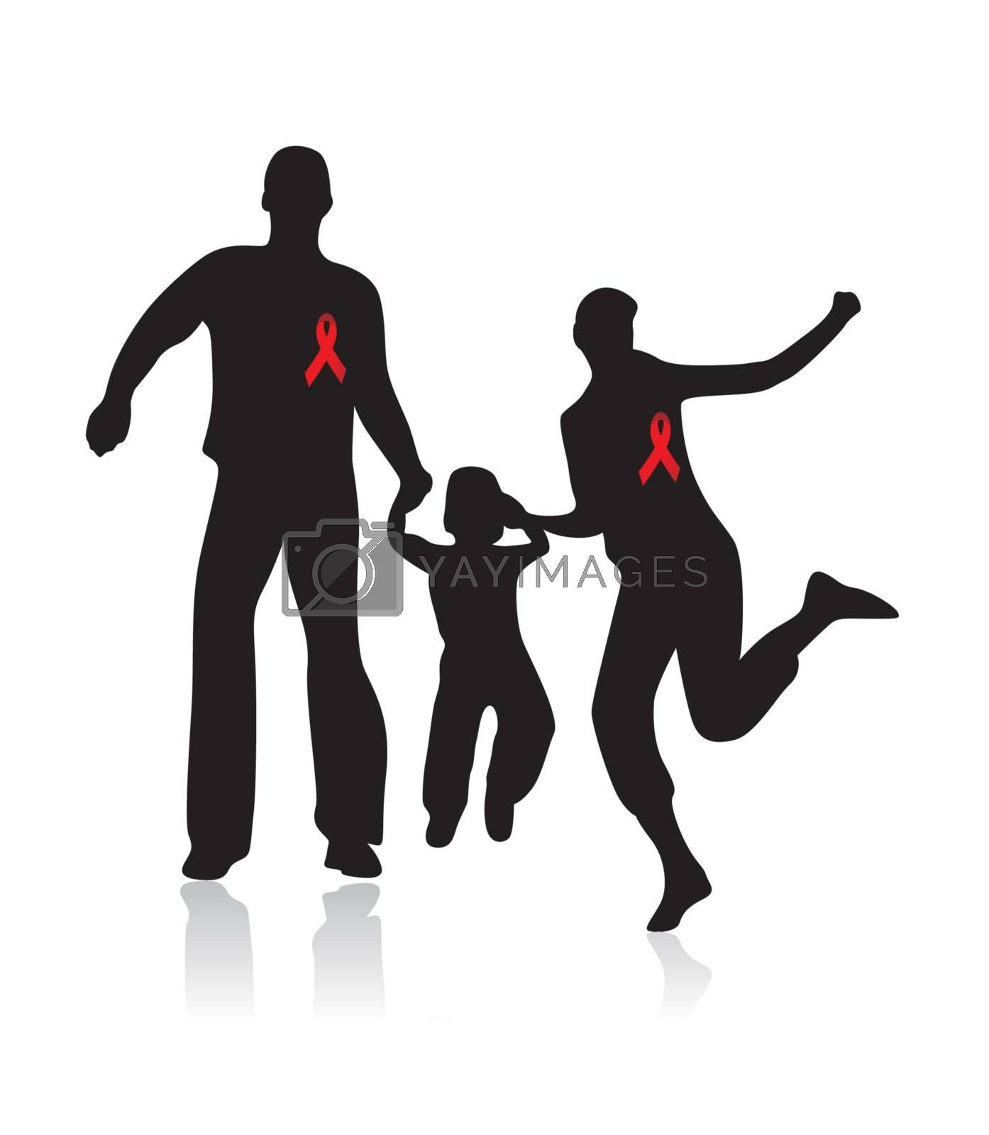 happy family with aids awareness red ribbon