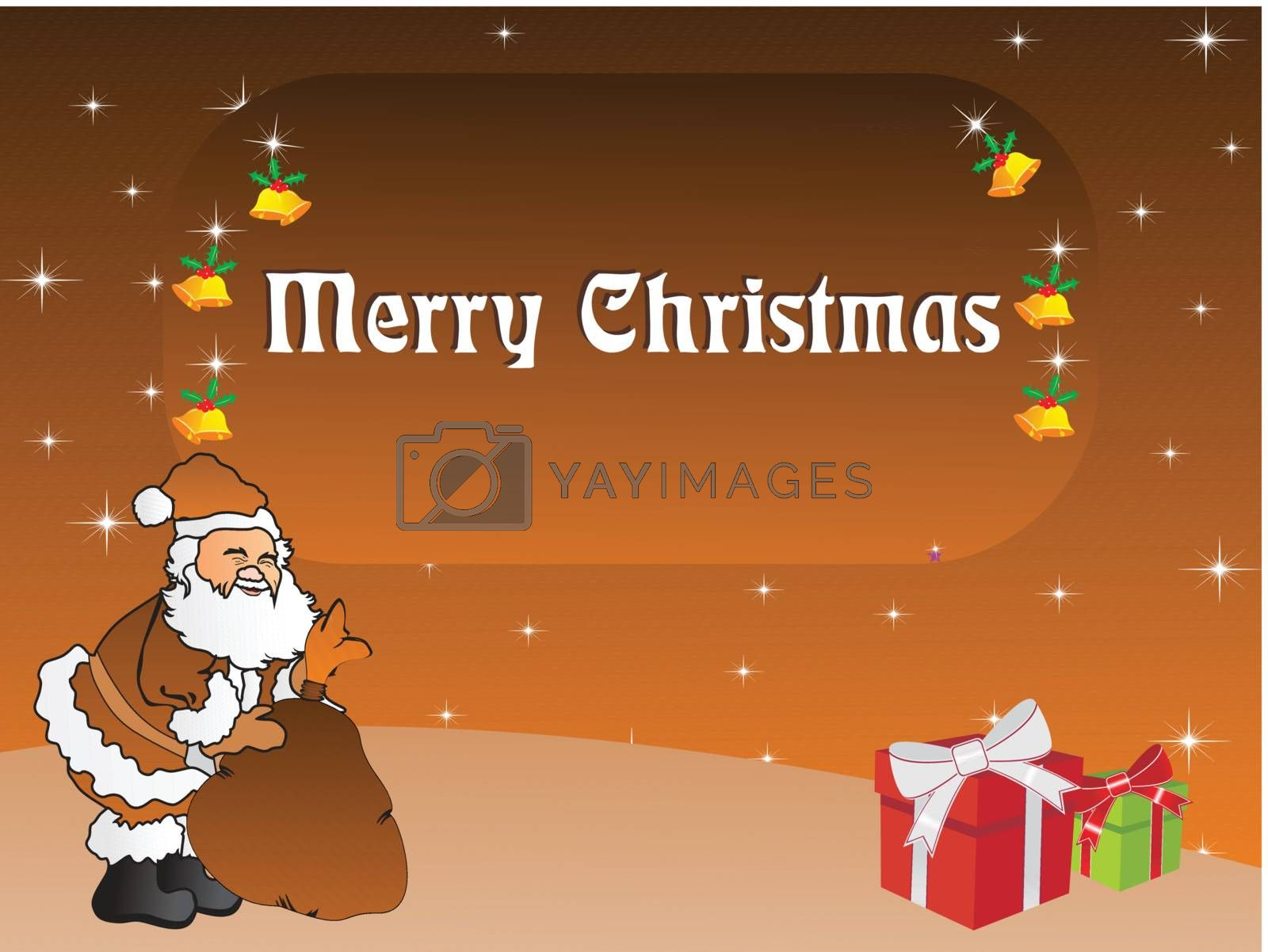 ilustration of santa claus with his gift bag, vector illustration