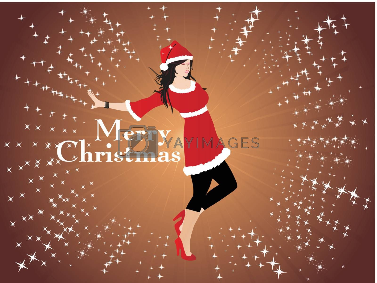 silhouette of beautifull girl in santa dress; wallpaper