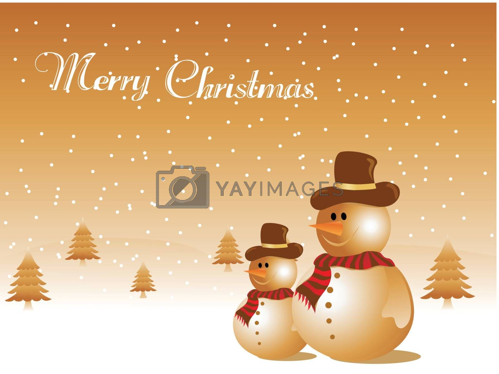 snowman and tree in snowfall, vector illustration