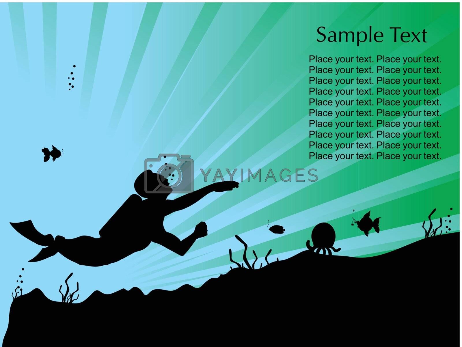 under water photographer, illustration