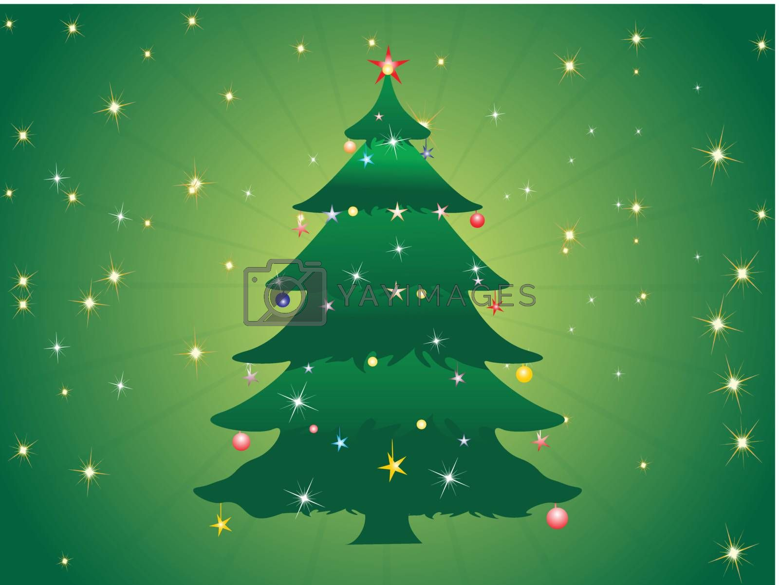 vector christmas tree isolated on white