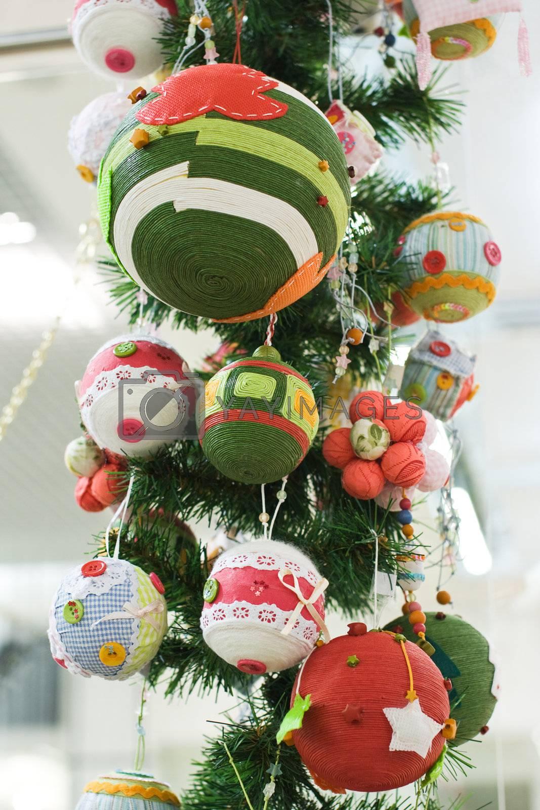 Close-up Christmas Toys and Balls by rozhenyuk