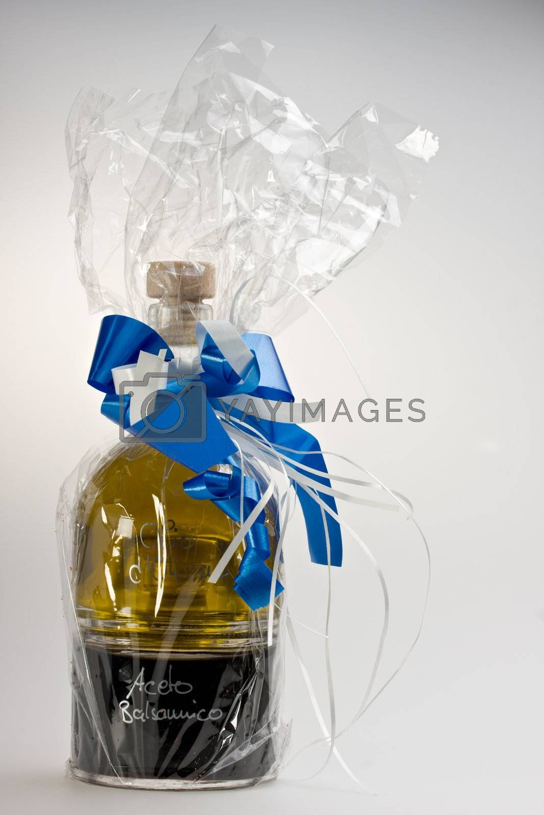 olive oil and vinegar wrapped as a gift