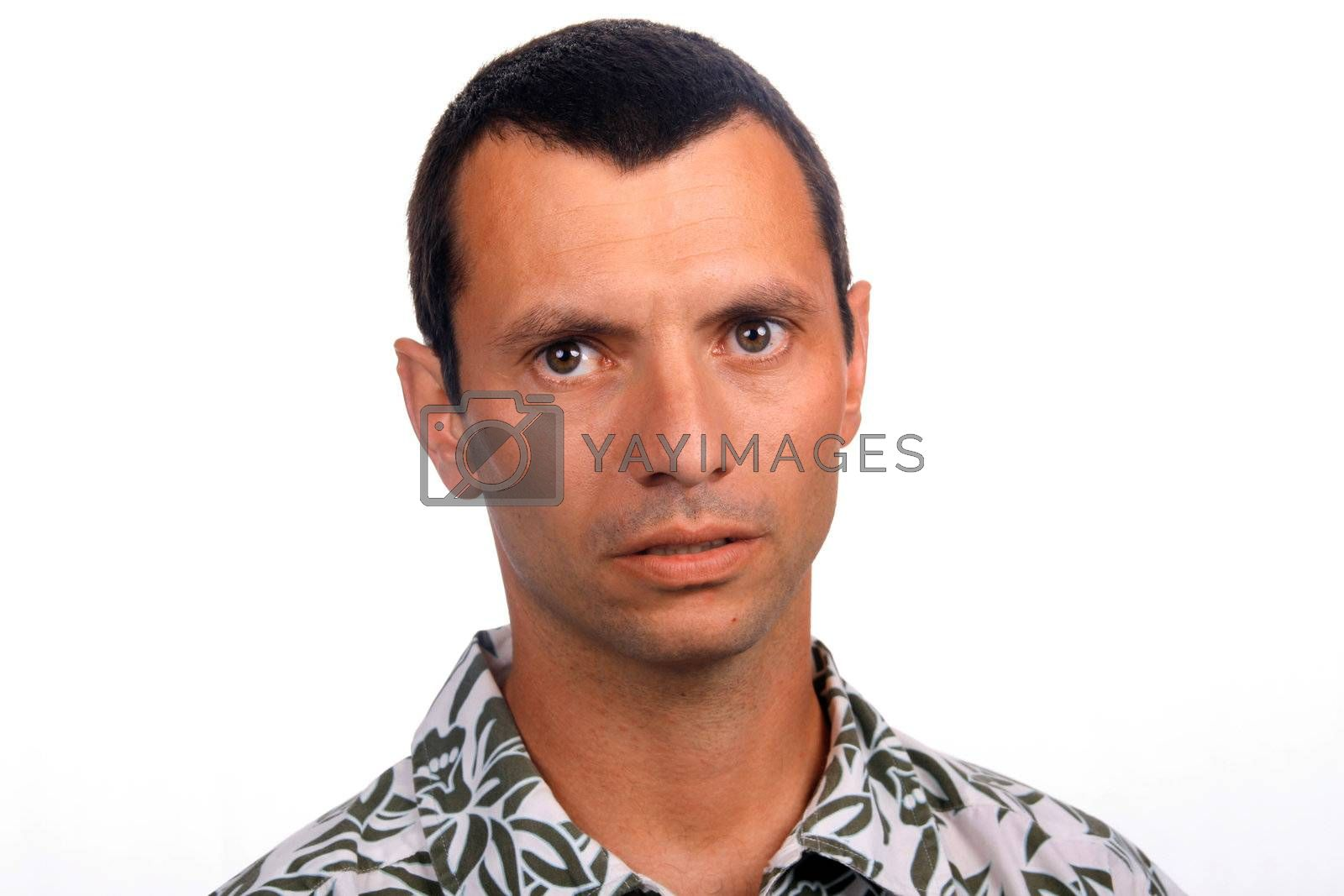 tourist man over white background looking