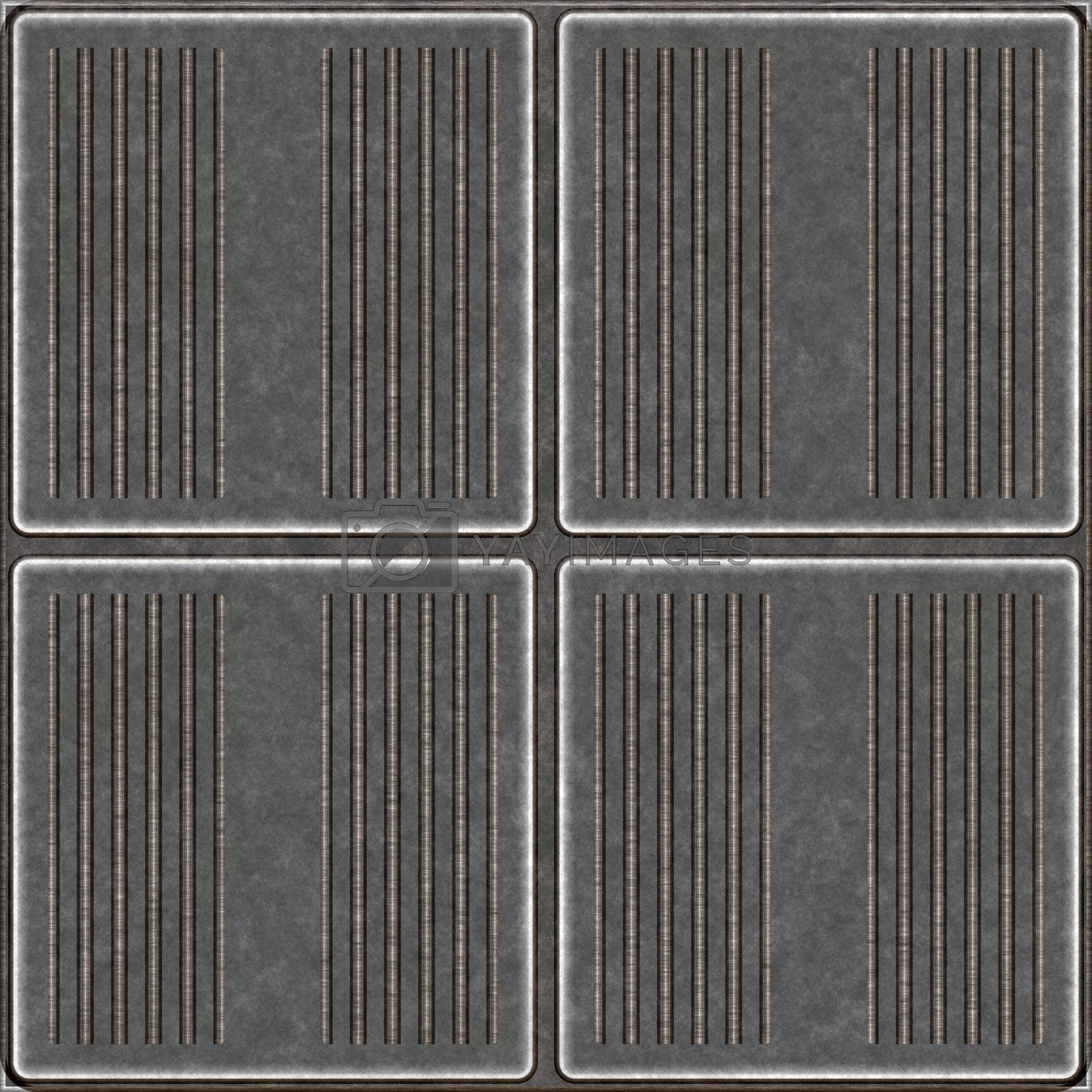 Seamless worn metal plates with grooves that tile seamlessly as a pattern in any direction.