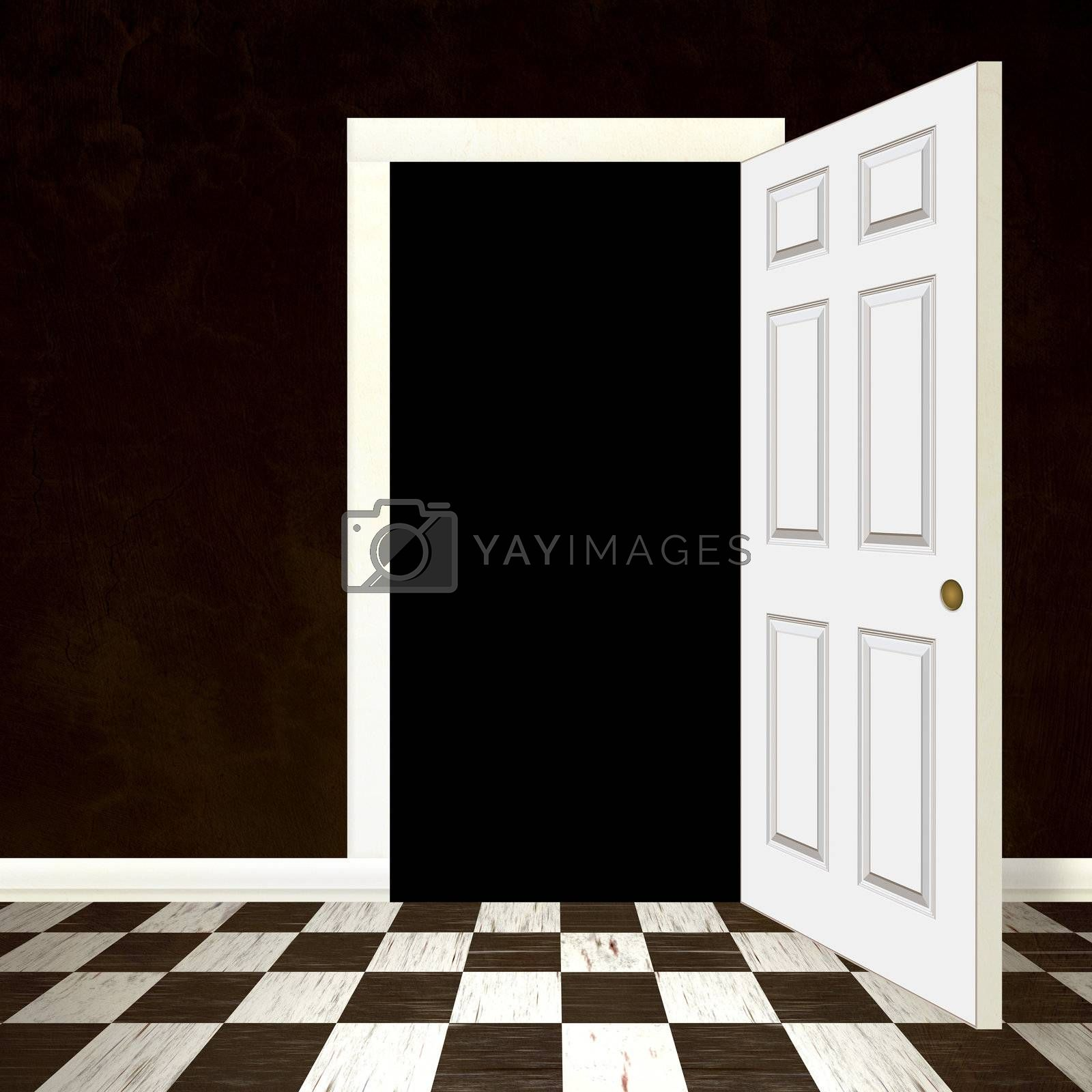 An entrance with an opened doorway and copyspace in the black area to insert your own graphic or photo.