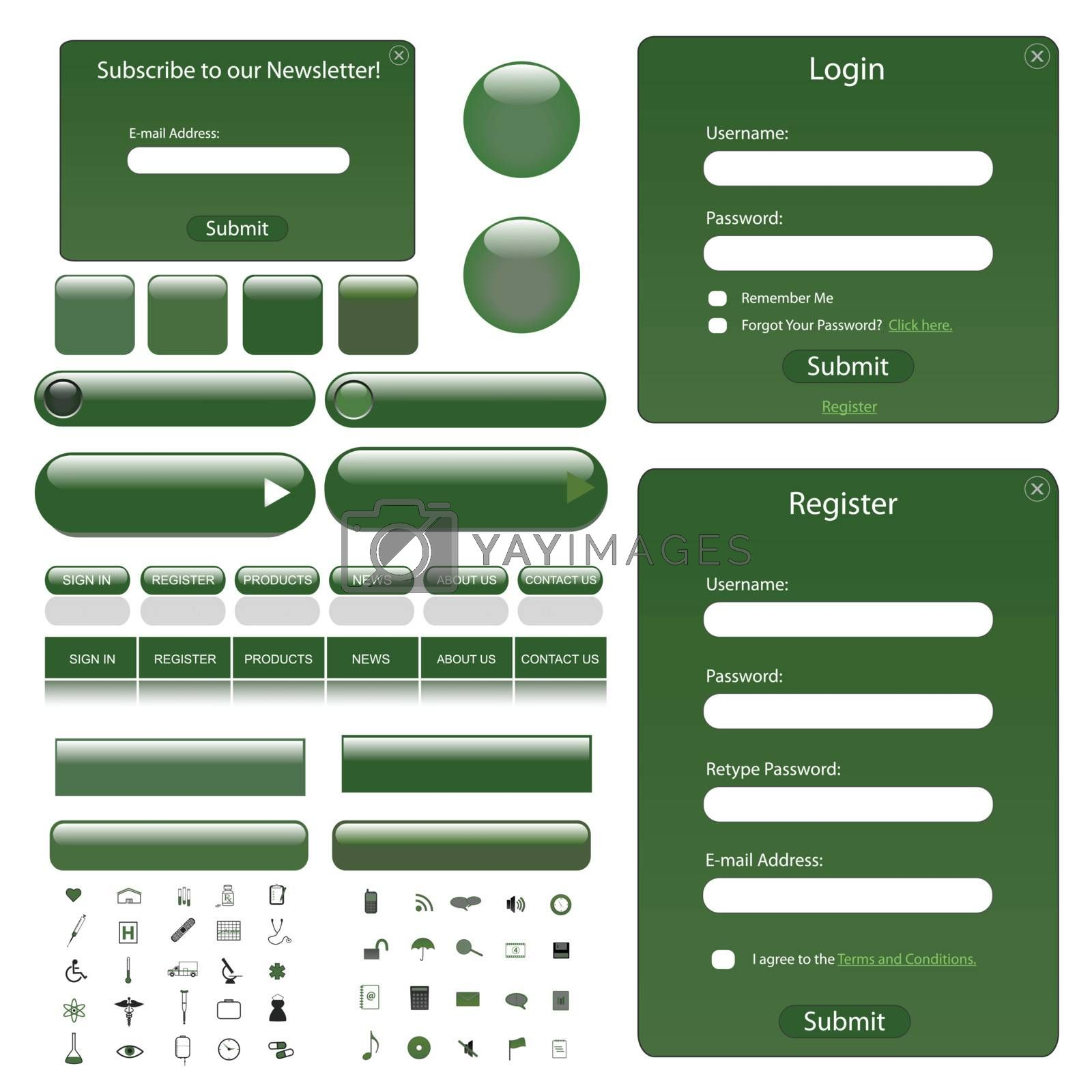 Web template with forms, bars and buttons.