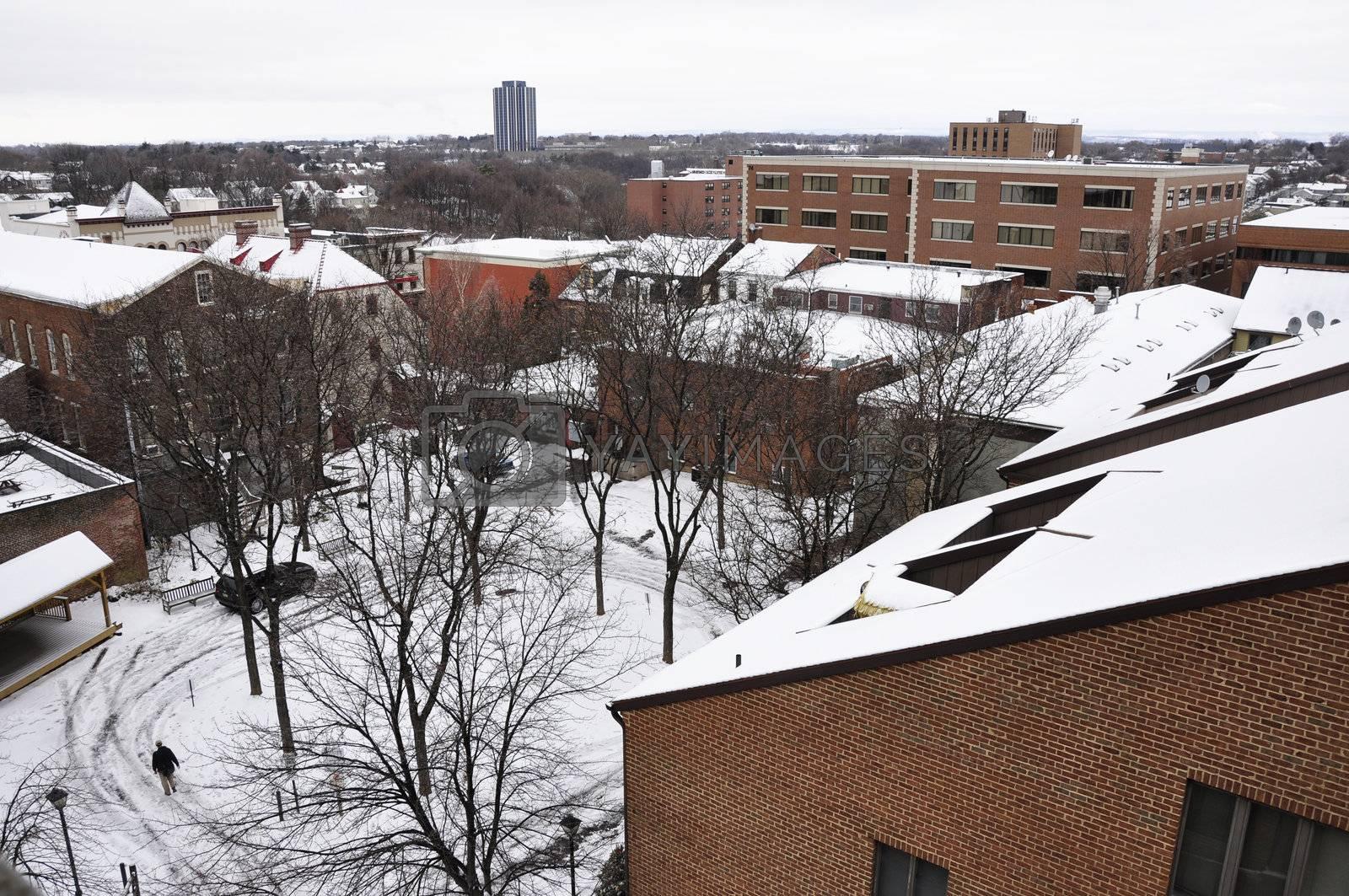 snow covered rooftops in Bethlehem, Pennsylvania