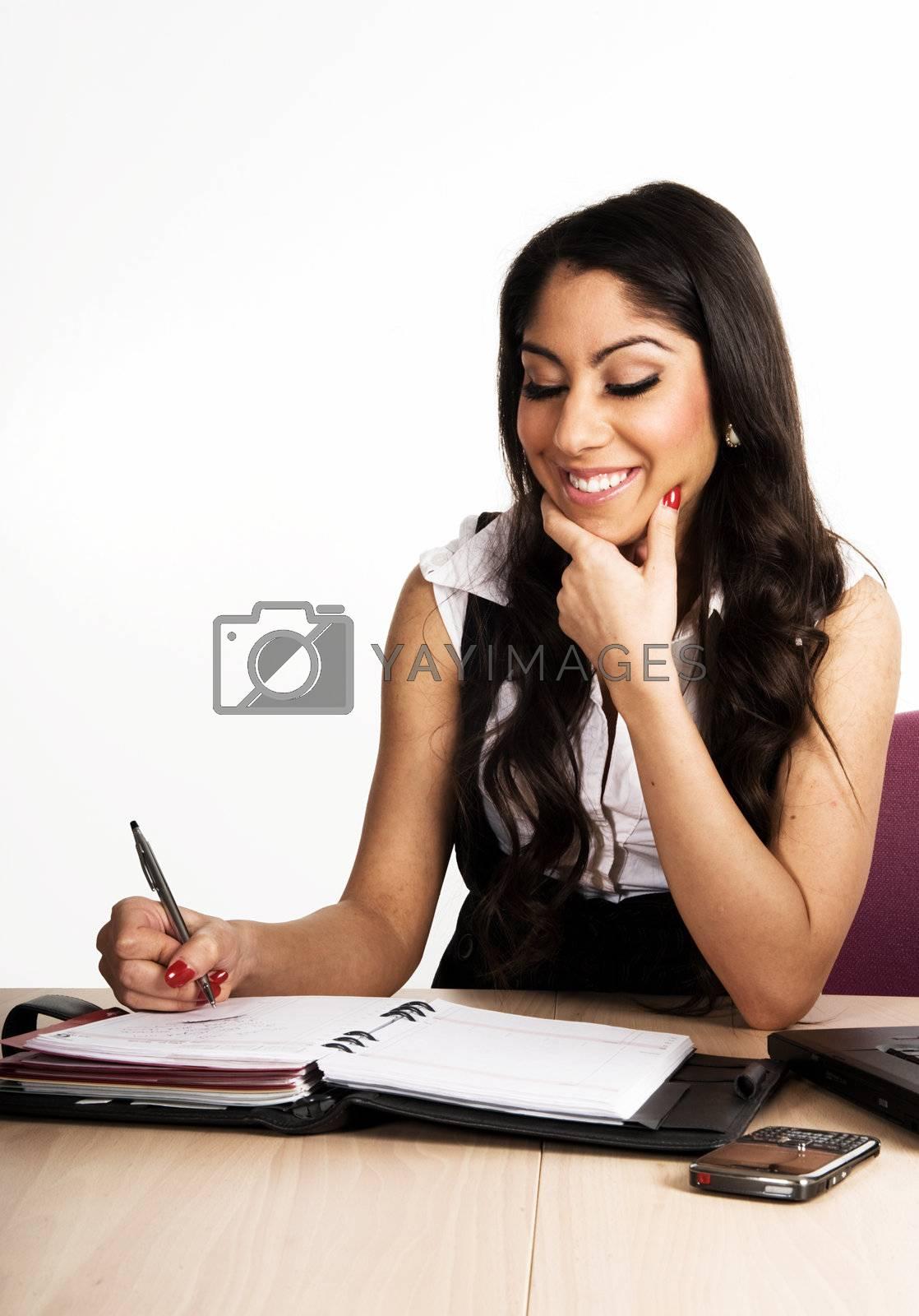 Business woman working on her calendar