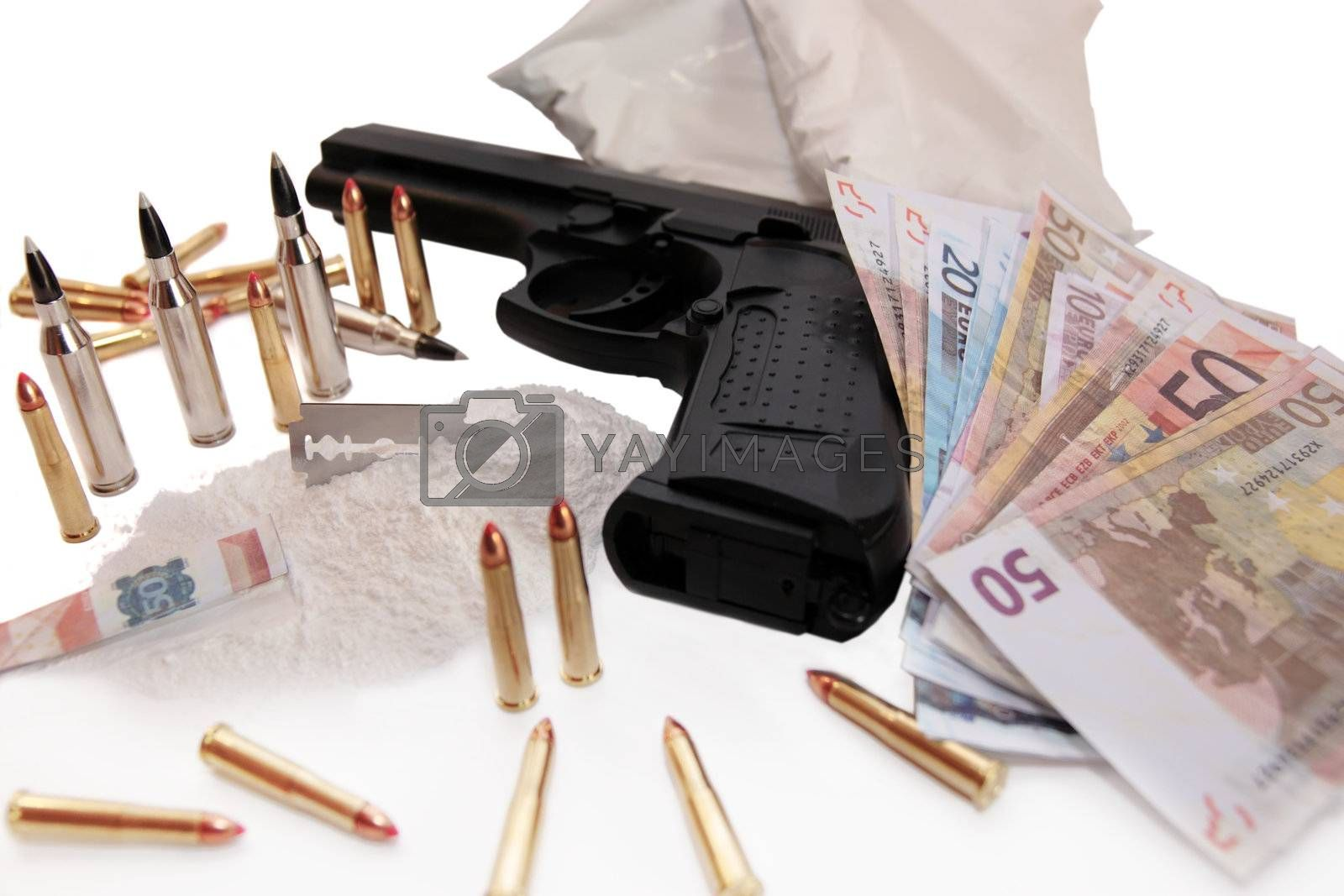 concept of a drug deal or gun hire going down against a white background