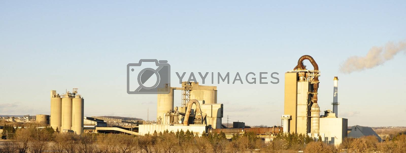 panorama of three cement factories