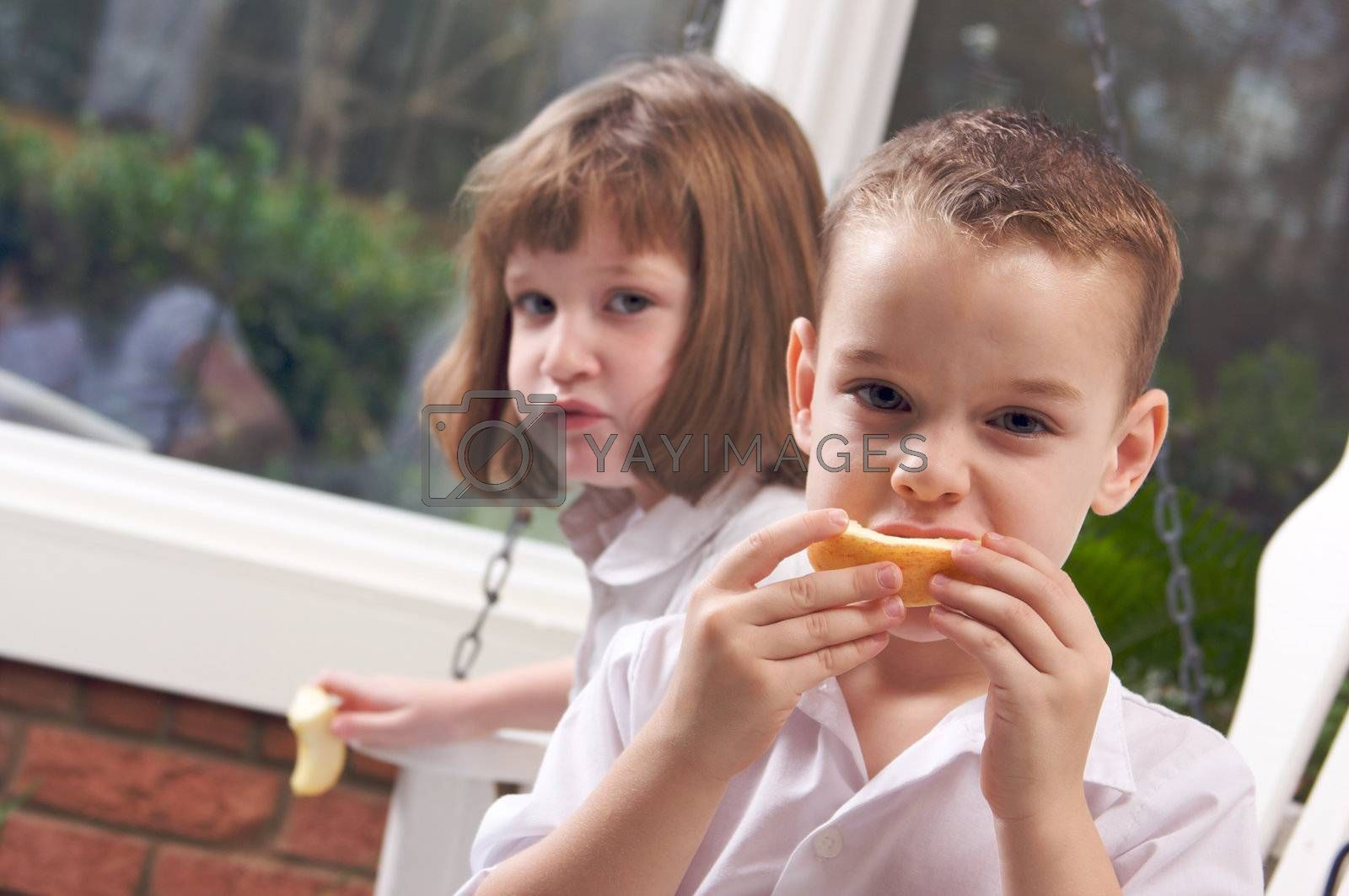 Sister and Brother Having Fun Eating an Apple