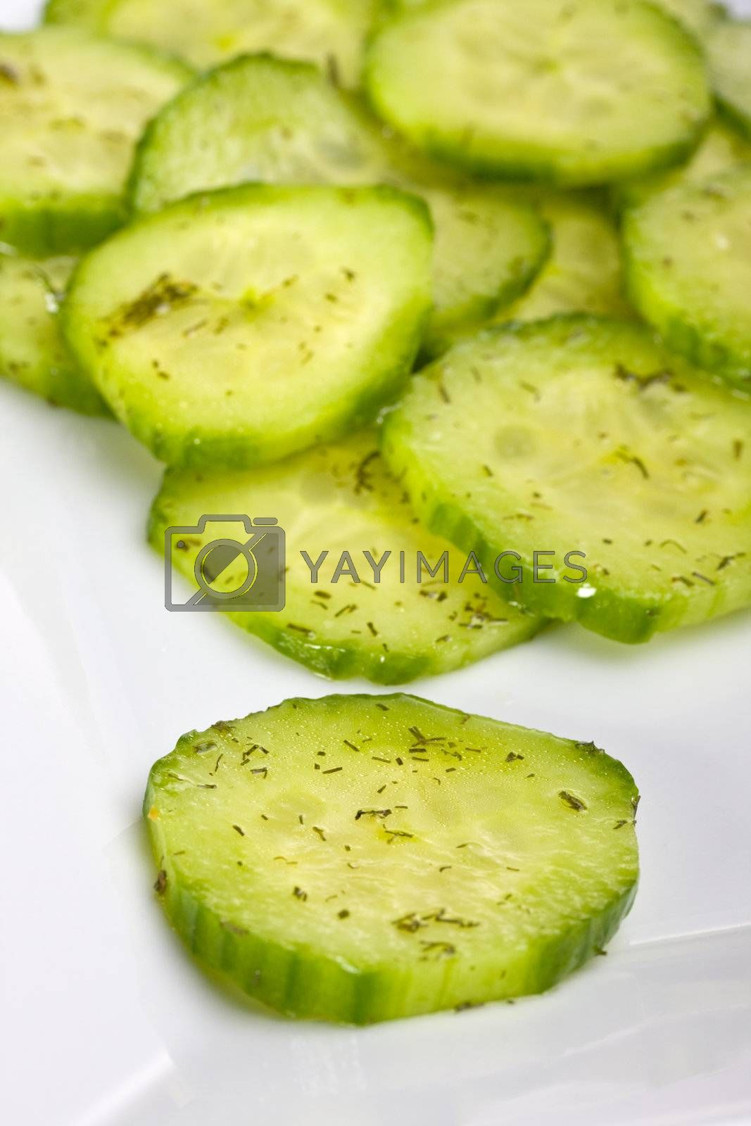 cucumber salad with dill in a white square plate